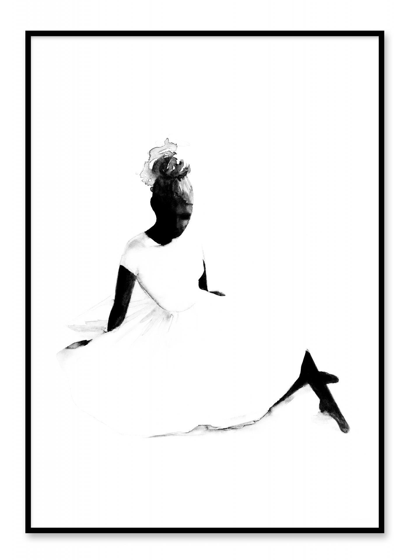 Magdalena Tyboni DESIGN Akvarelový plakát Ballerina 50 x 70 cm, černá barva, bílá barva, papír