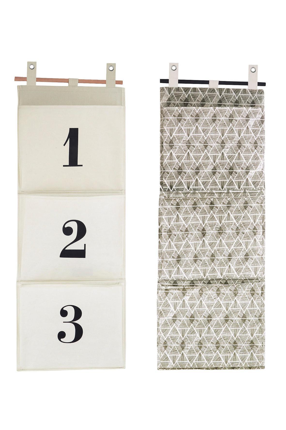 House Doctor Látkový kapsář k zavěšení Čísla, béžová barva, černá barva, textil