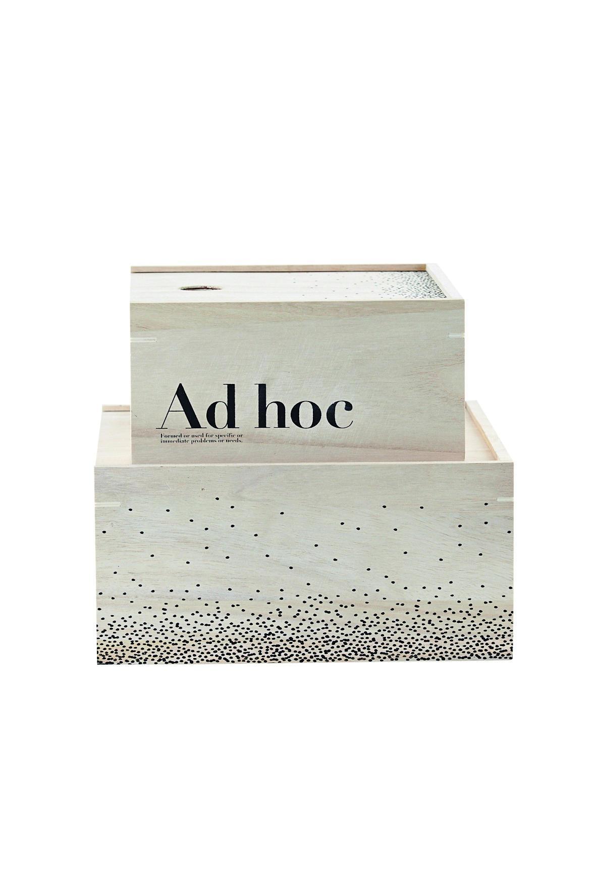 House Doctor Úložný box Ad Hoc - 2 velikosti Větší, béžová barva, dřevo