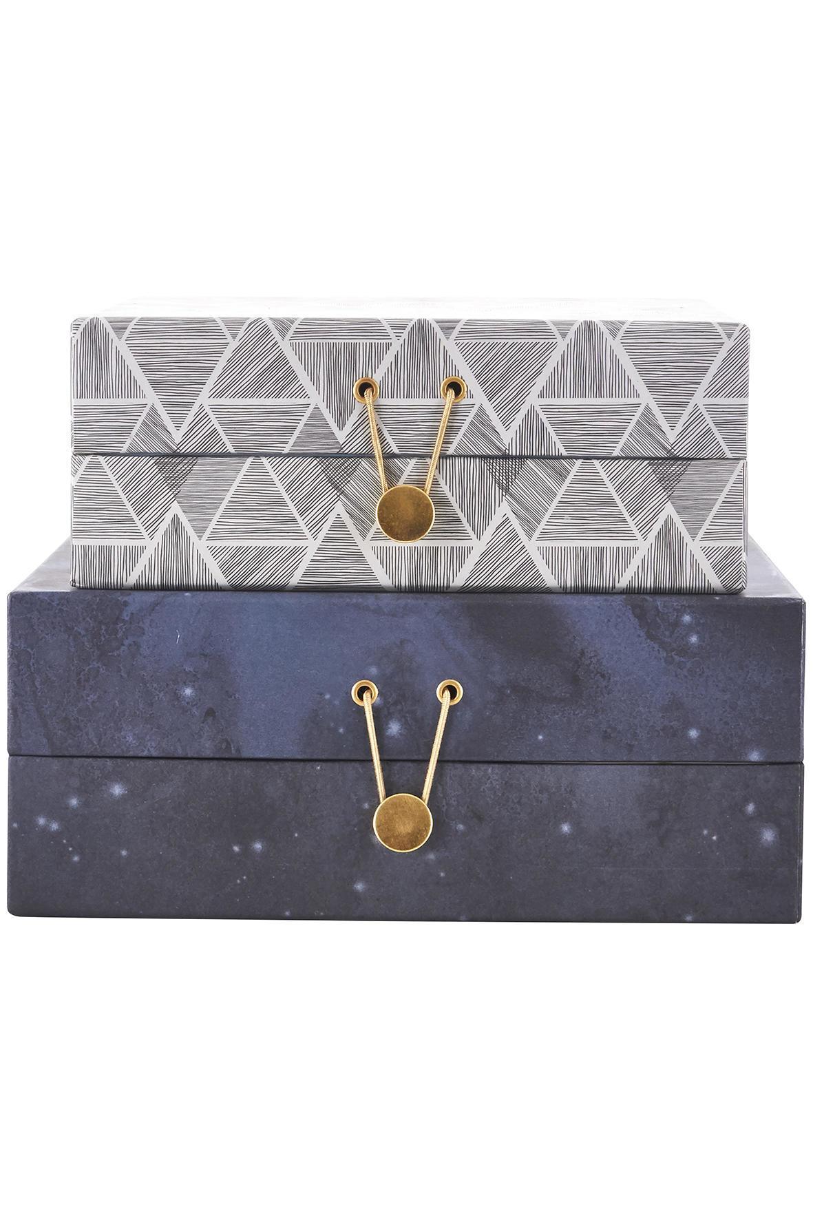 house doctor Plochý úložný box Seasons - 2 druhy Větší, modrá barva, šedá barva, papír