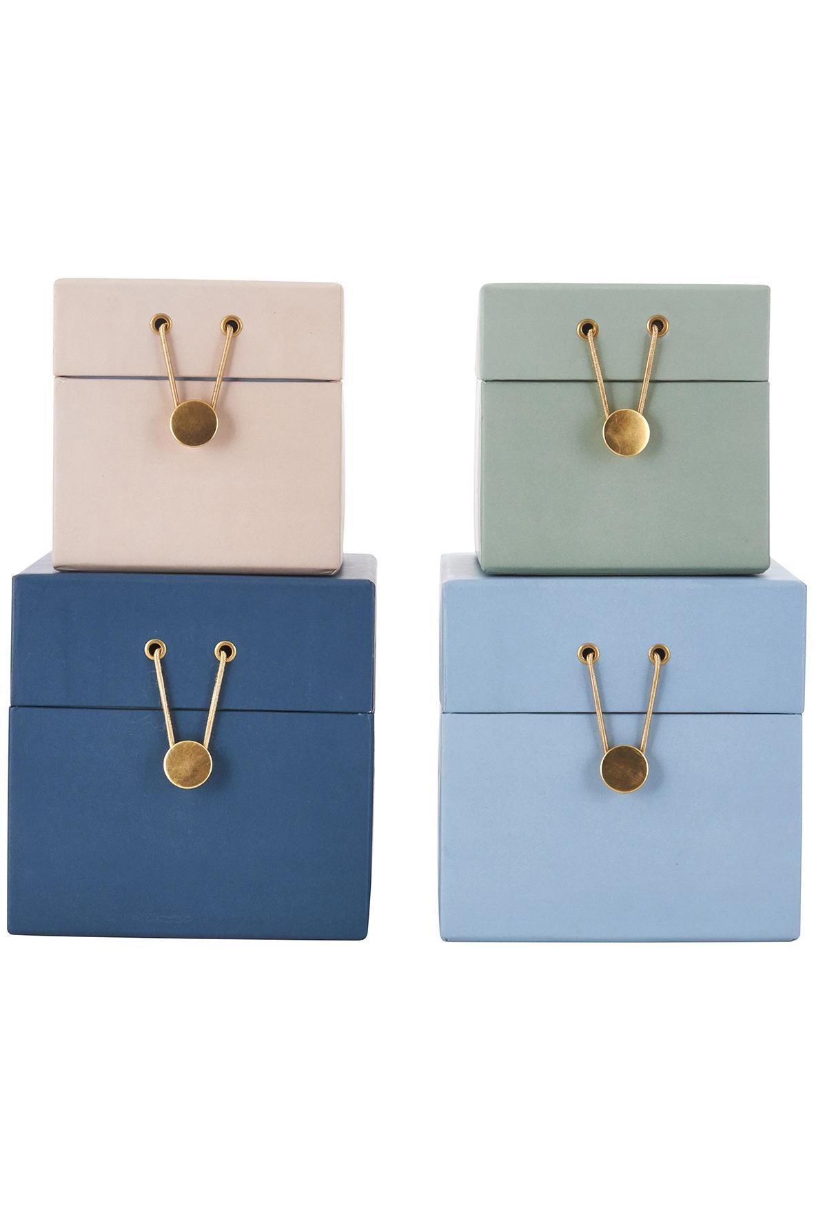 House Doctor Úložné boxy Colours - 4 druhy Světlá tyrkysová