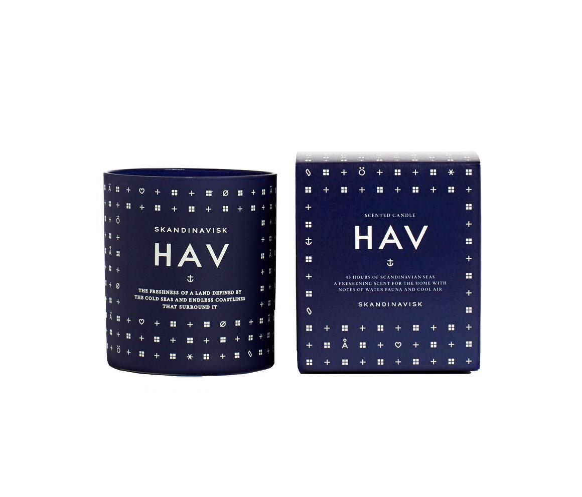 SKANDINAVISK Vonná svíčka HAV (moře) 190 g (bez víčka), modrá barva, bílá barva, sklo
