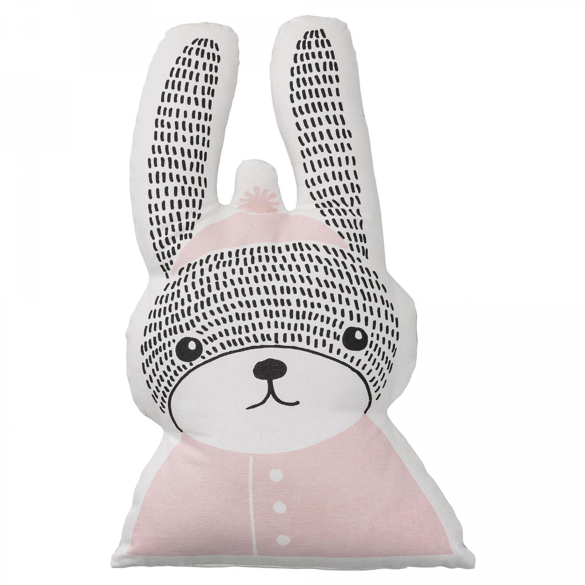 Bloomingville Dětský polštářek ve tvaru králíka Sophia Rabbit, růžová barva, bílá barva, textil