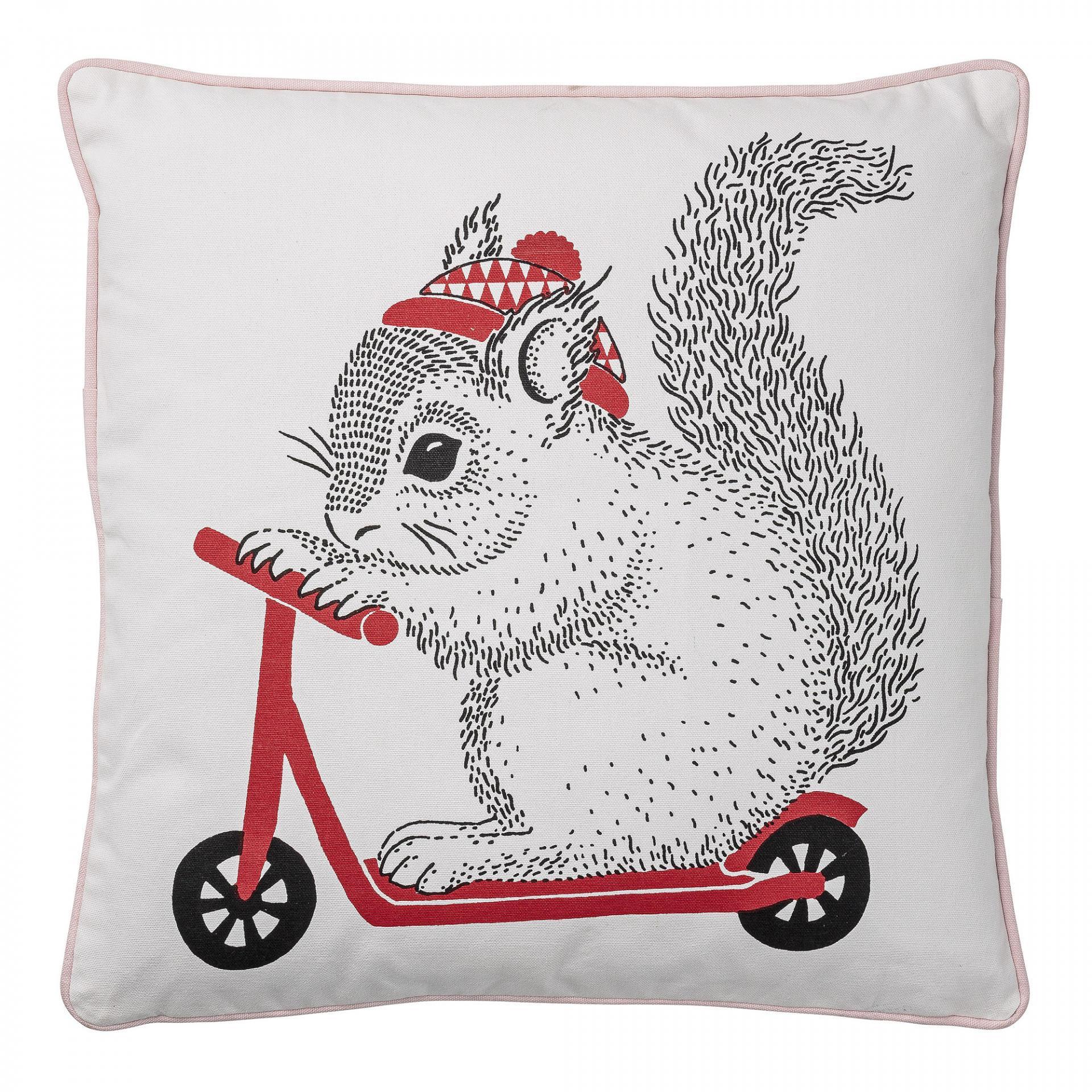 Bloomingville Dětský polštářek s veverkou Squirrel, červená barva, bílá barva, textil
