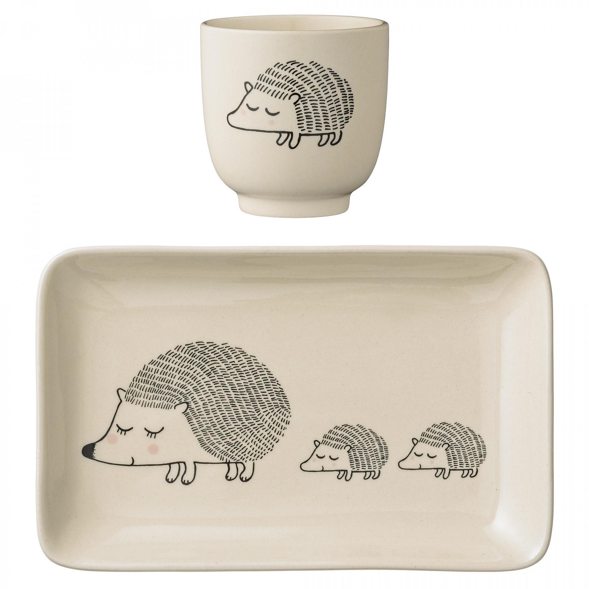 Bloomingville Tácek s kalíškem pro děti Hedgehog - set 2 ks, béžová barva, keramika
