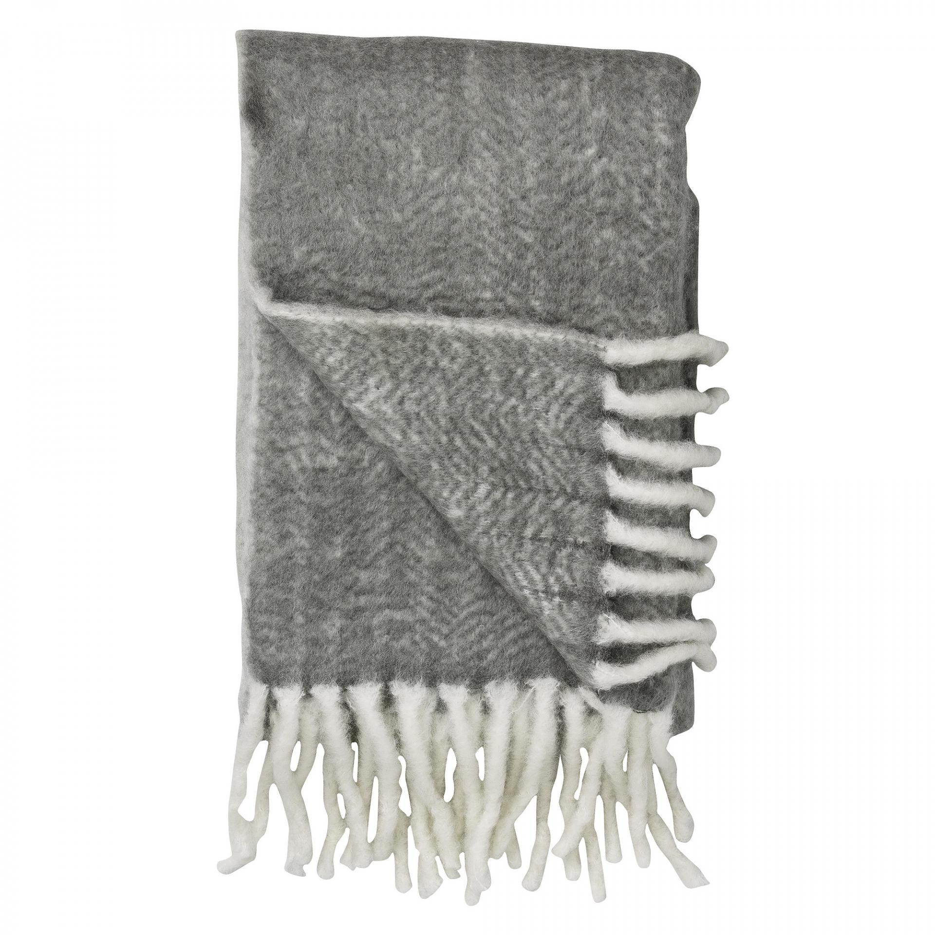 Bloomingville Pletený přehoz Grey&White, šedá barva, textil