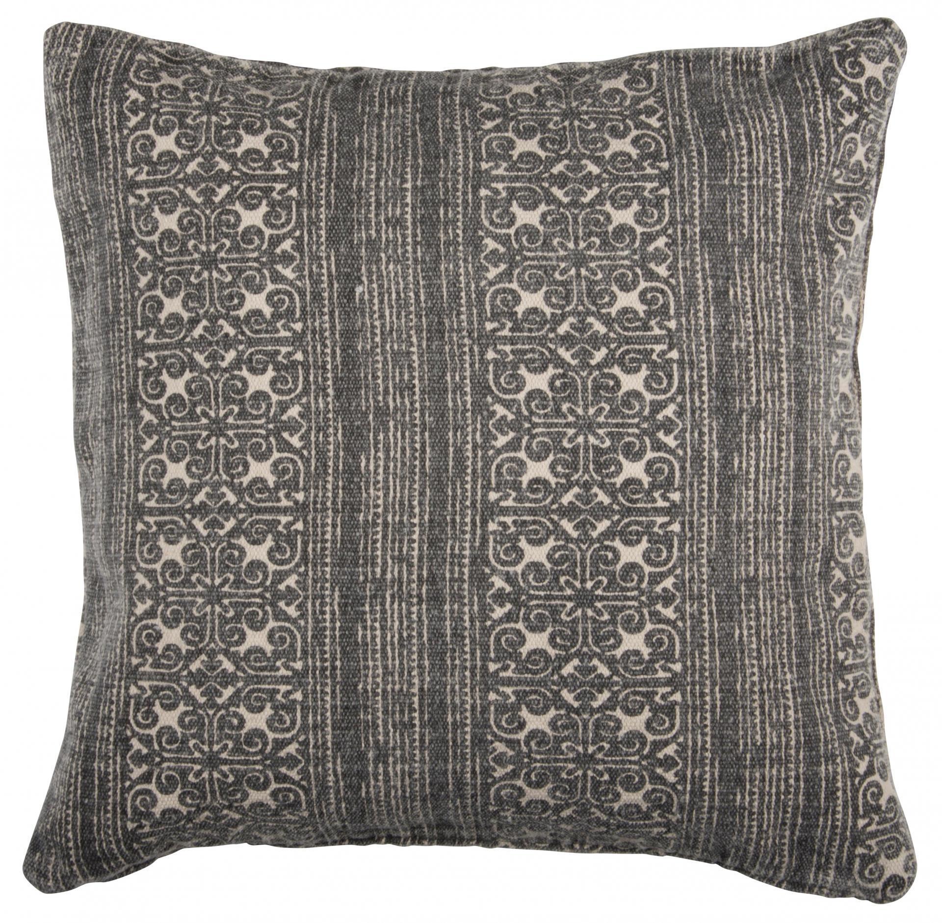 IB LAURSEN Povlak na polštář Black print 50x50, šedá barva, černá barva, textil