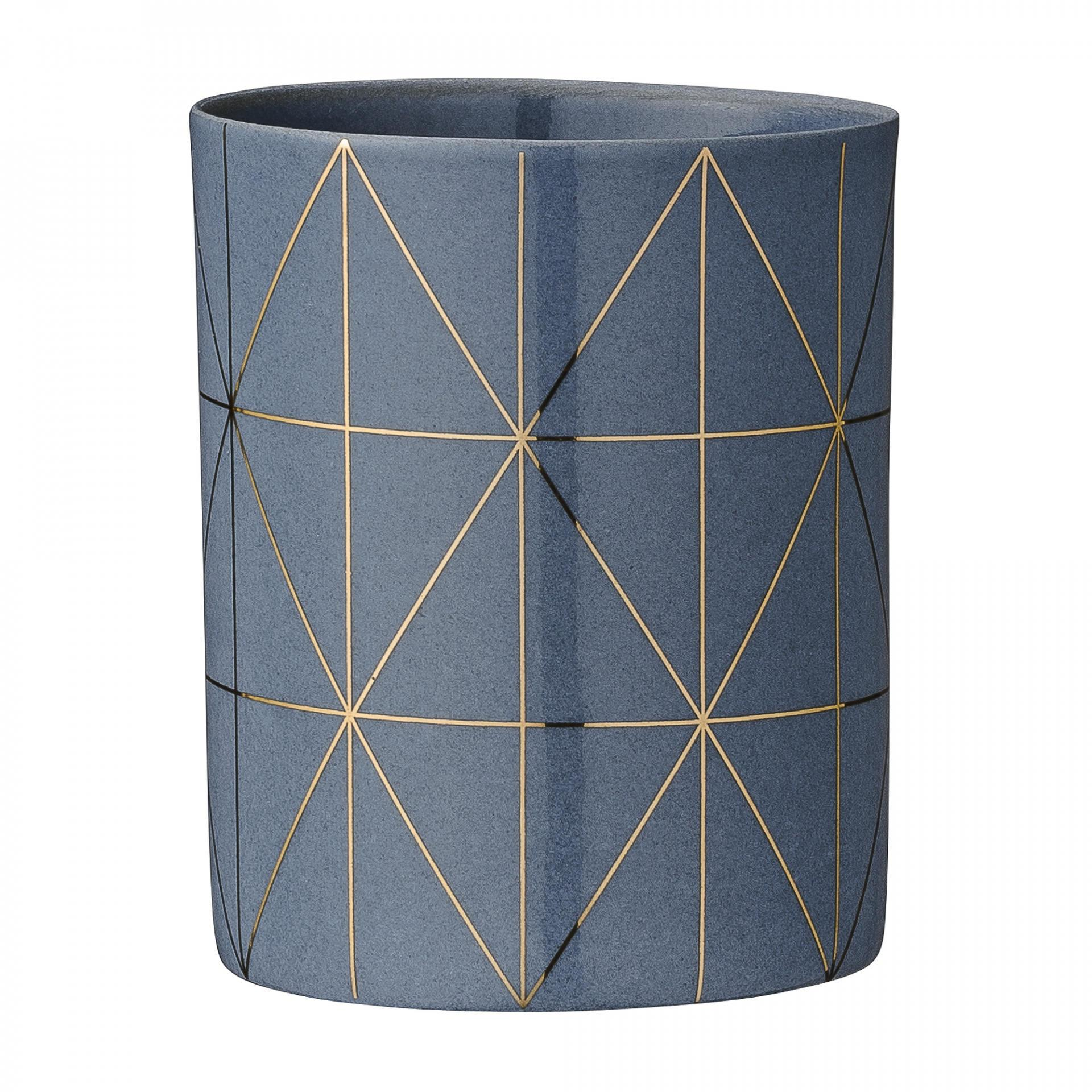 Bloomingville Porcelánový svícen na čajovou svíčku Grey&Gold