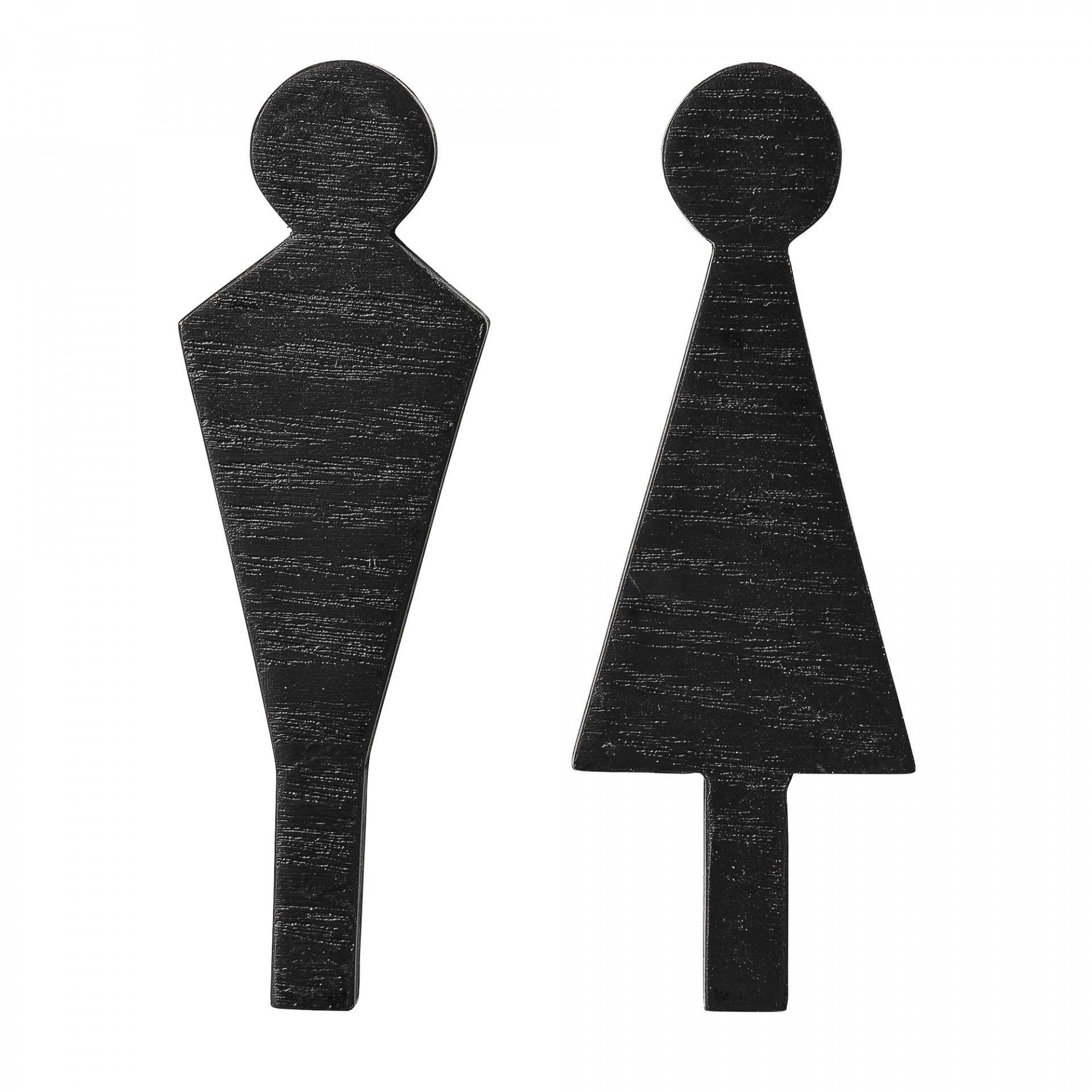 Bloomingville Dřevěný panáček na dveře WC Wood Black - dva druhy Holčička, černá barva, dřevo
