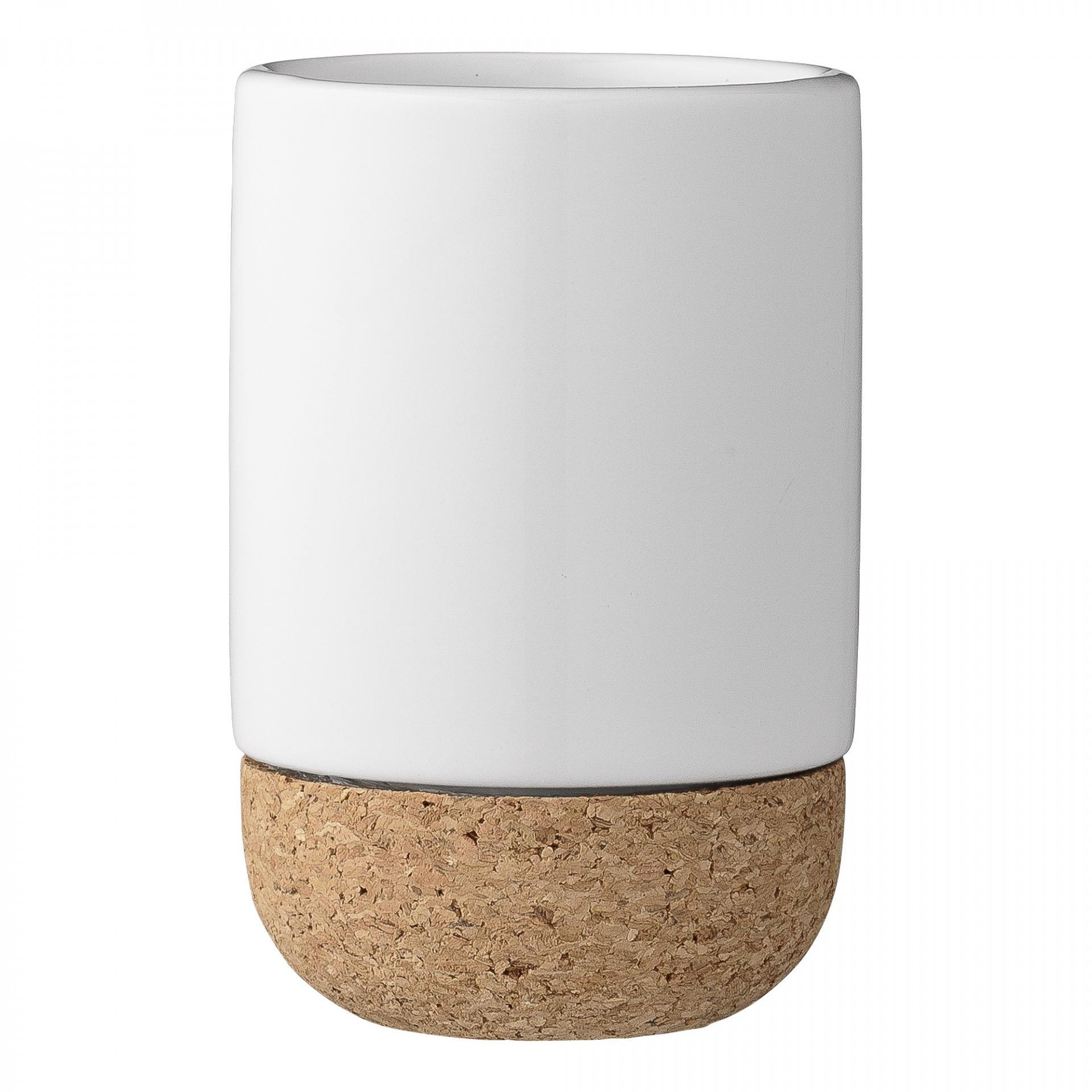 Bloomingville Keramický kalíšek do koupelny Cork Base, bílá barva, hnědá barva, keramika