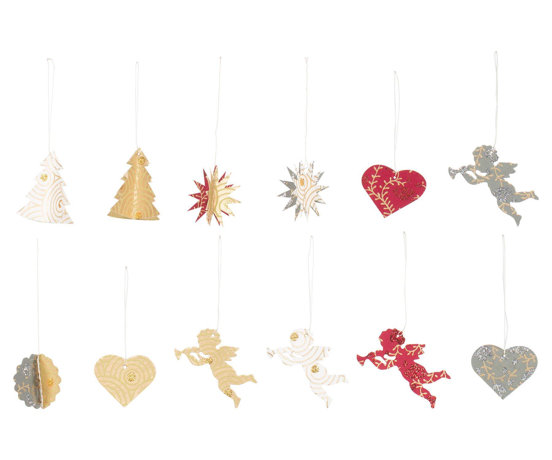 Maileg Vánoční papírové ozdoby Ornaments, multi barva, papír