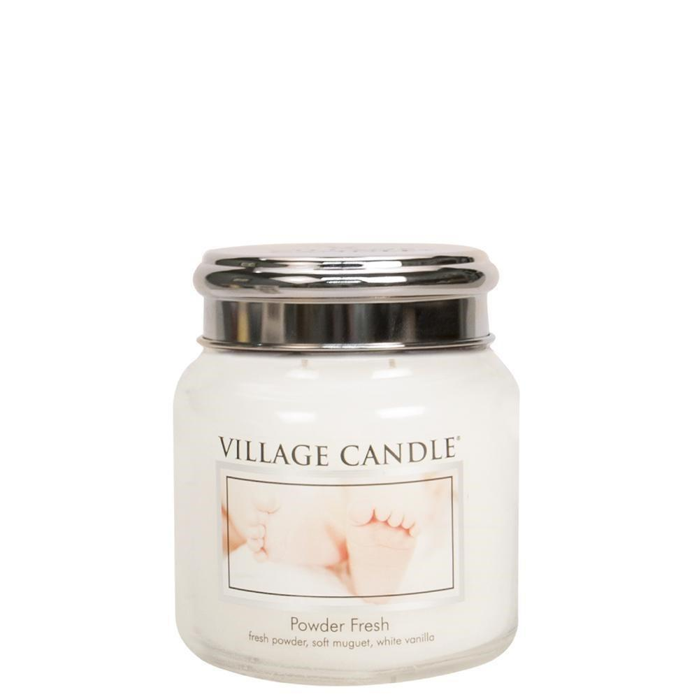 VILLAGE CANDLE Svíčka Village Candle - Powder Fresh 389g, bílá barva, sklo