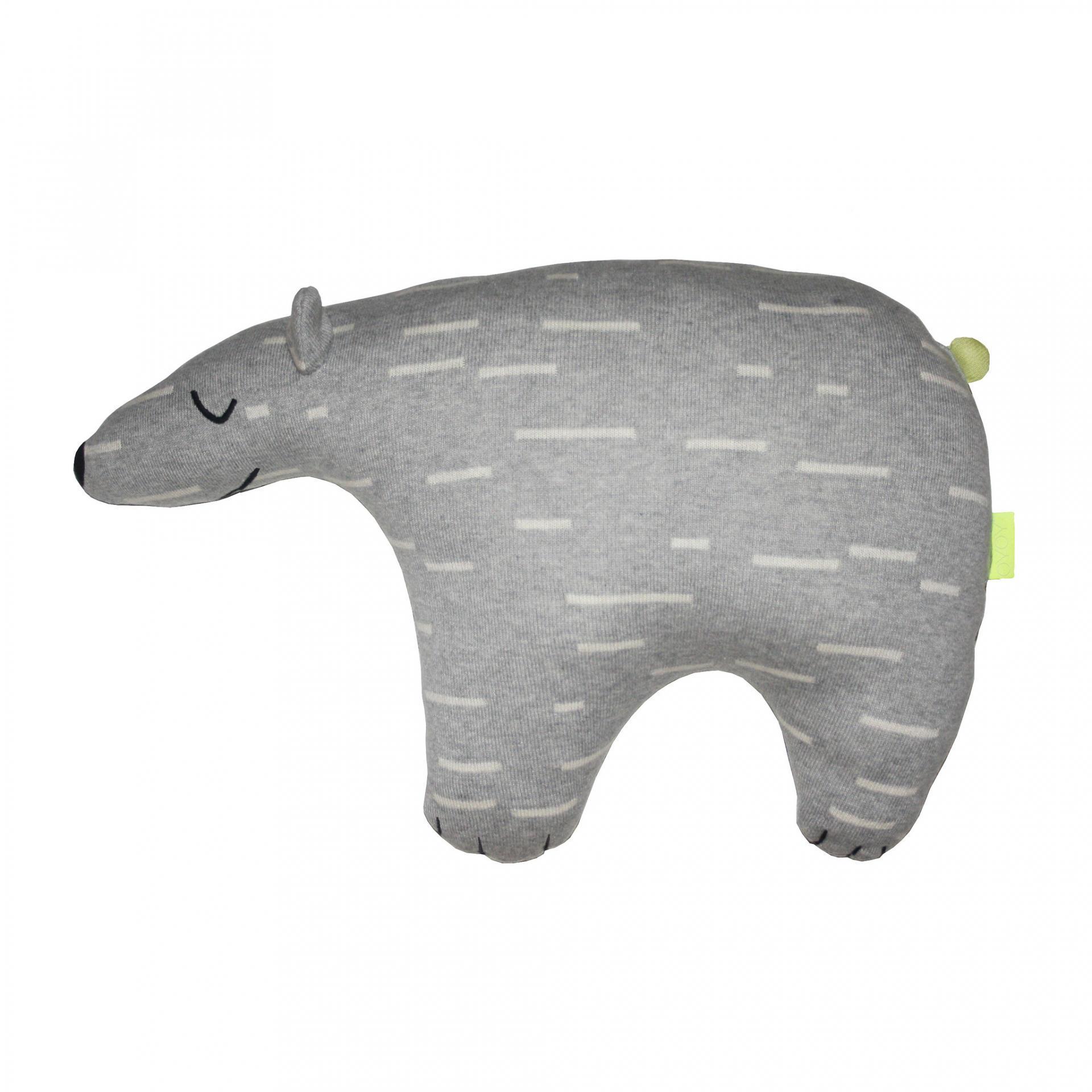 OYOY Dětský polštářek/hračka polární medvěd Knut, šedá barva, textil