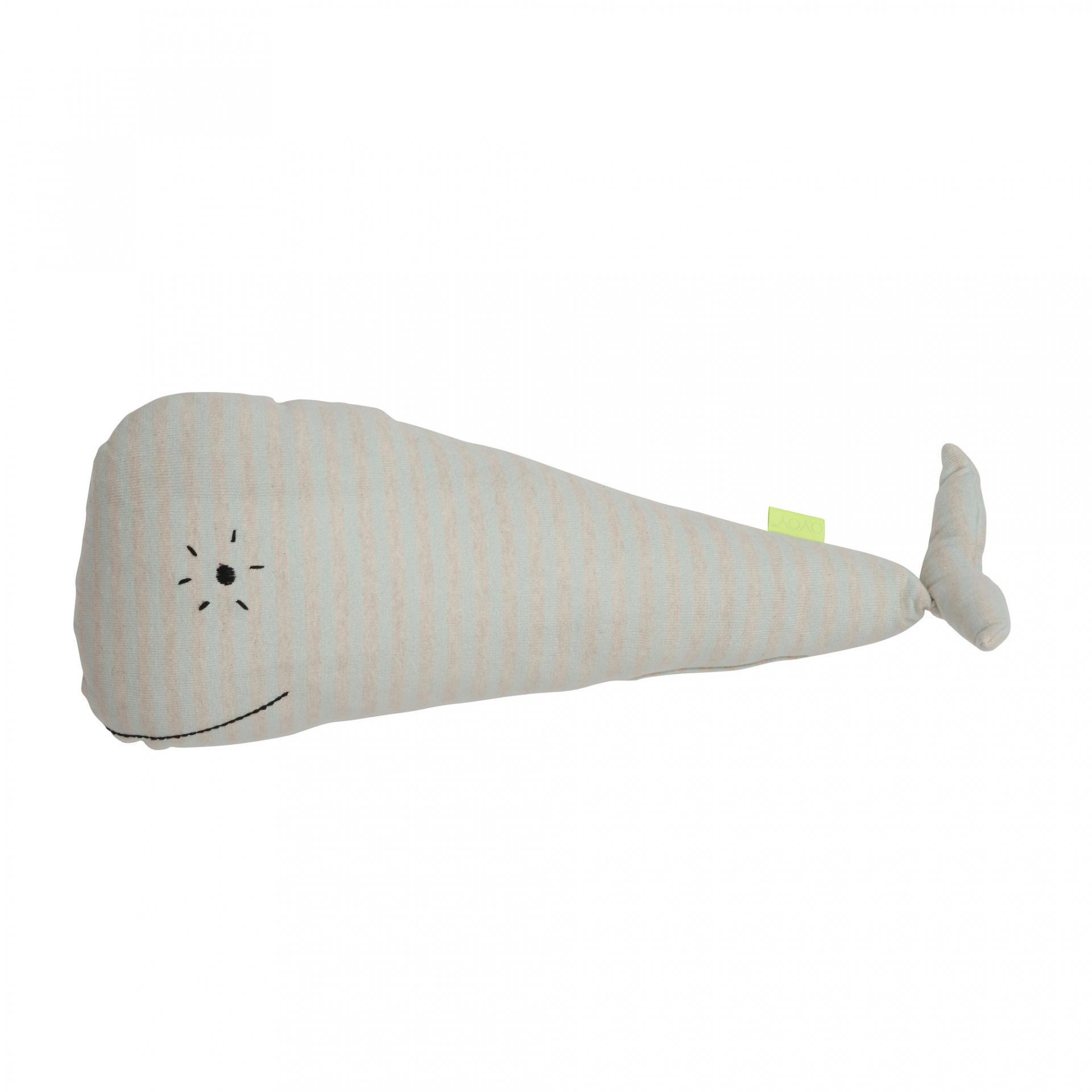 OYOY Dětský polštářek/hračka velryba Moby, modrá barva, textil