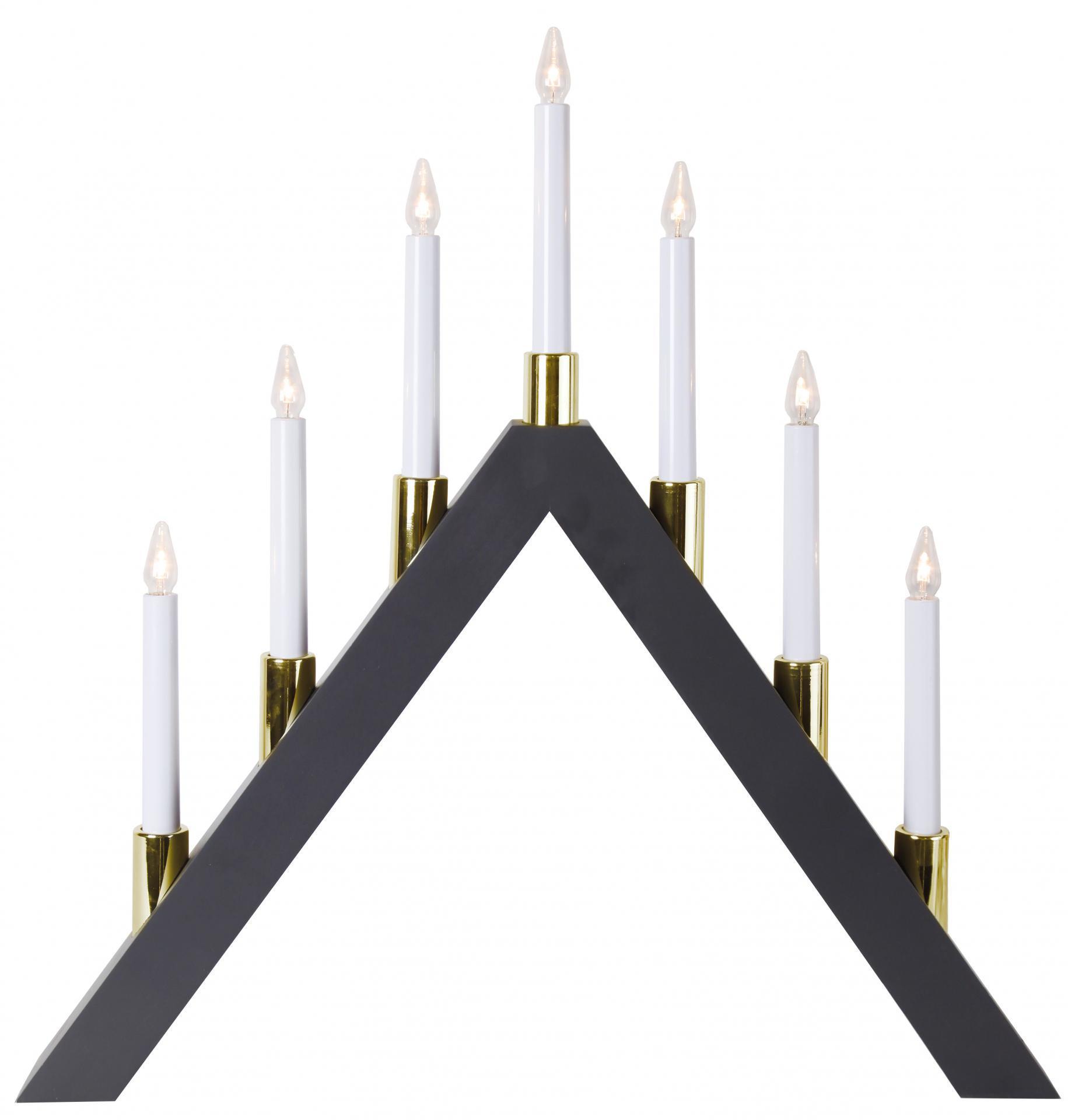 STAR TRADING Elektrický sedmiramenný svícen Halla Grey, šedá barva, dřevo