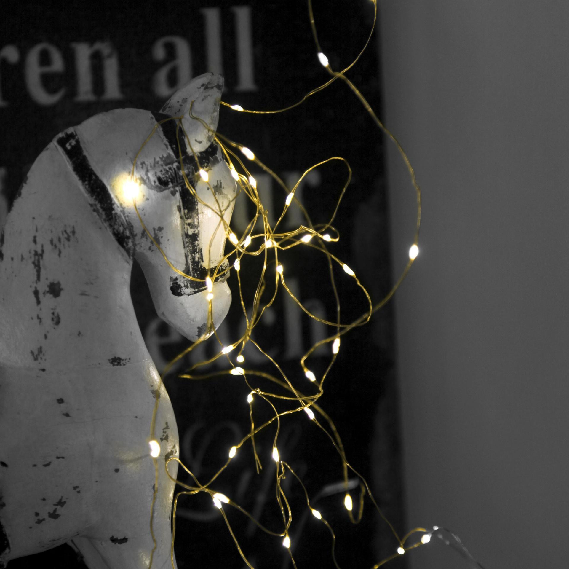 STAR TRADING Světelný LED drátek Brass Light, zlatá barva