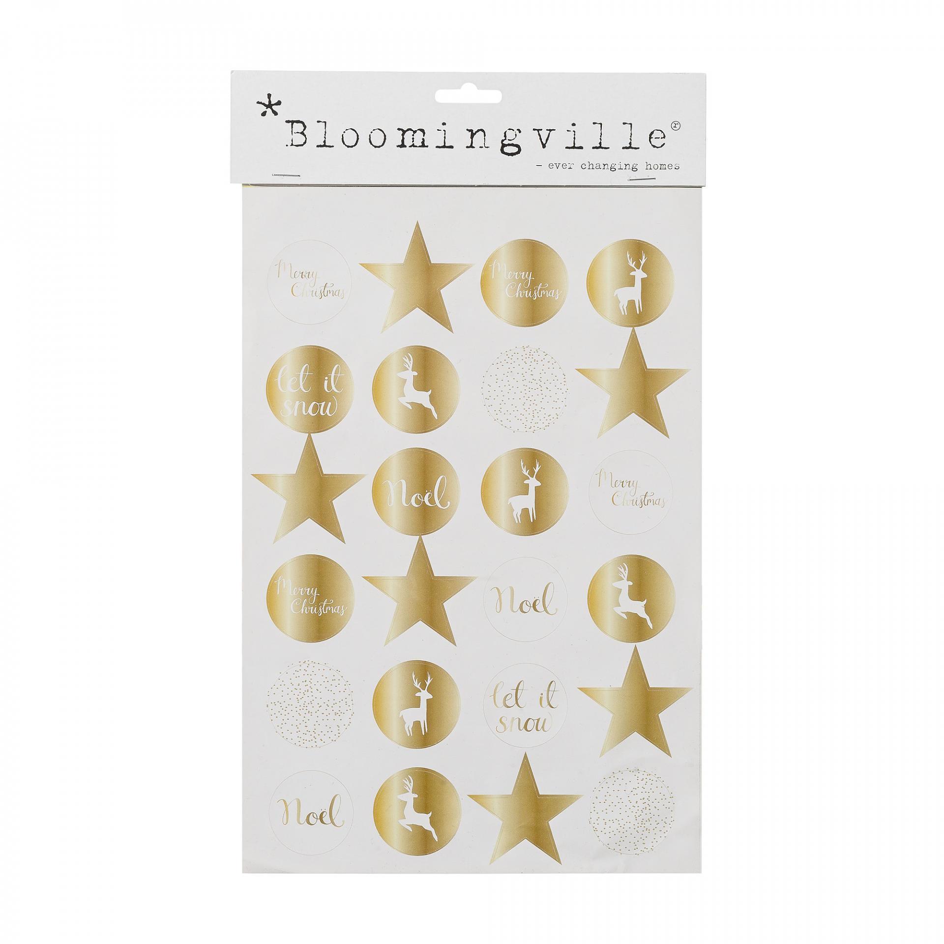Bloomingville Vánoční nálepky Gold - 24 ks, zlatá barva, papír