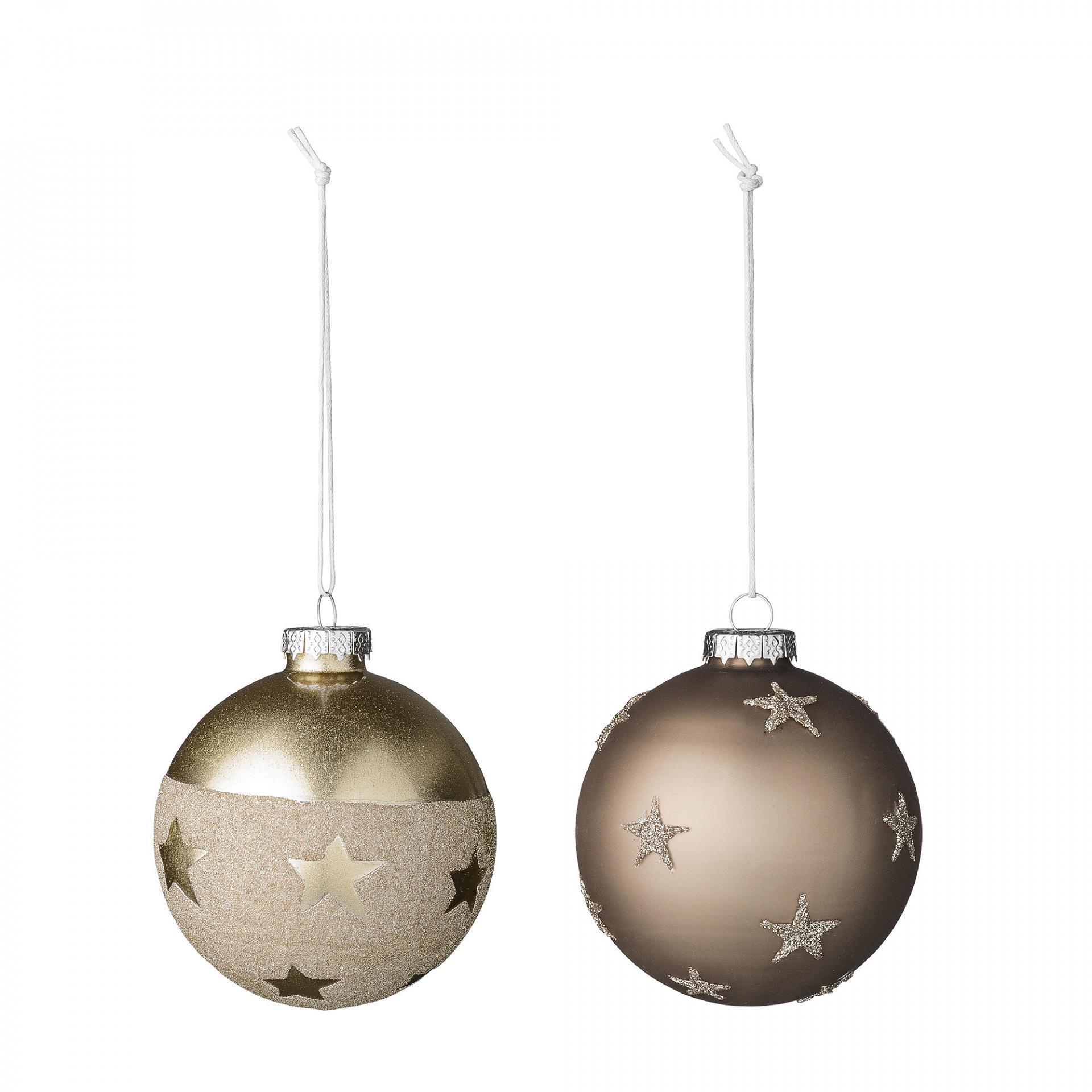Bloomingville Vánoční baňka Brown/Gold Sparkle Hnědá