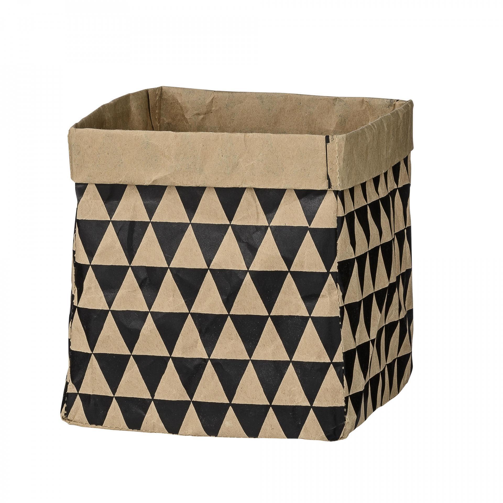 Bloomingville Papírový sáček Triangles, černá barva, hnědá barva, papír