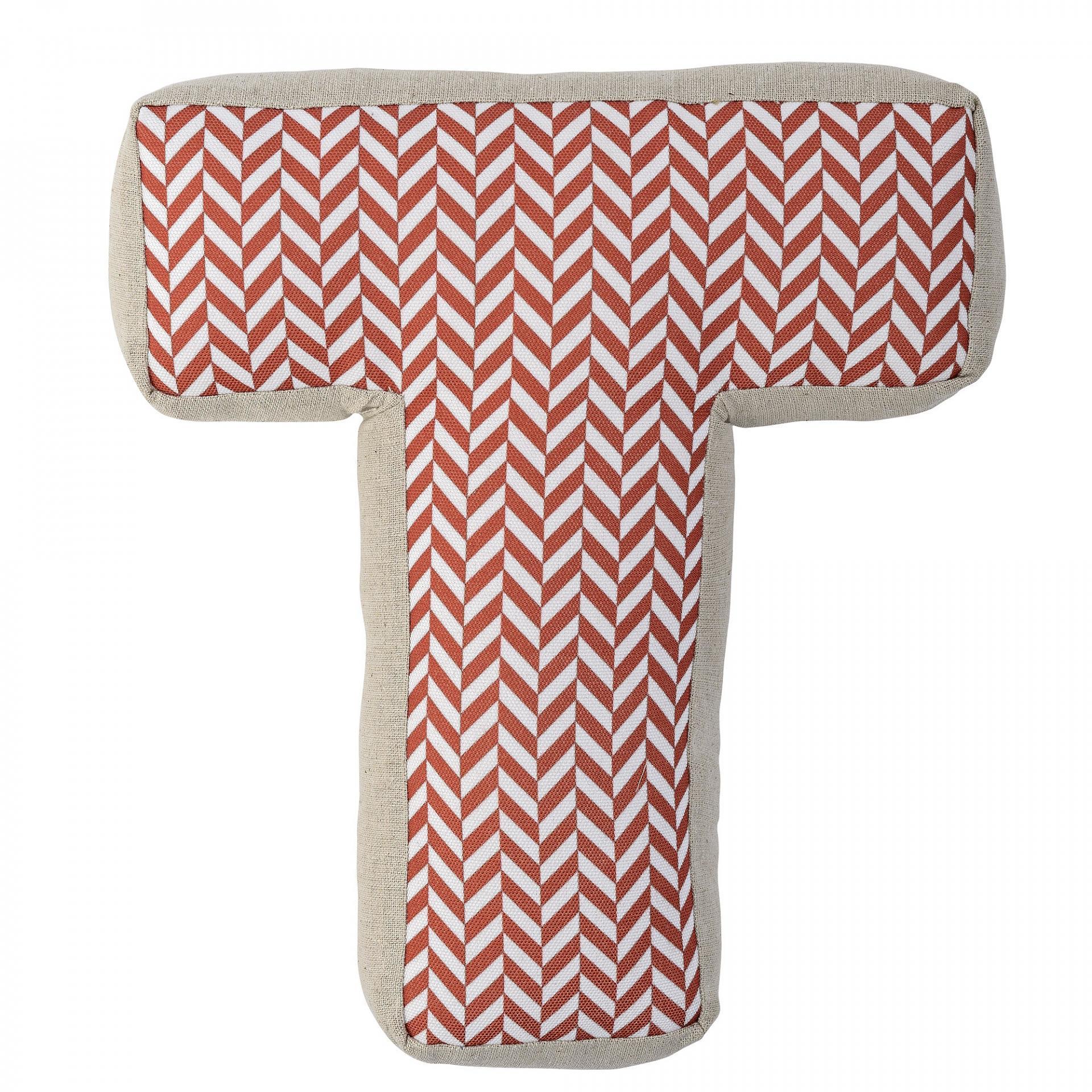 Bloomingville Dětský polštářek Checked ve tvaru písmene T, červená barva, oranžová barva, béžová barva, bílá barva, textil