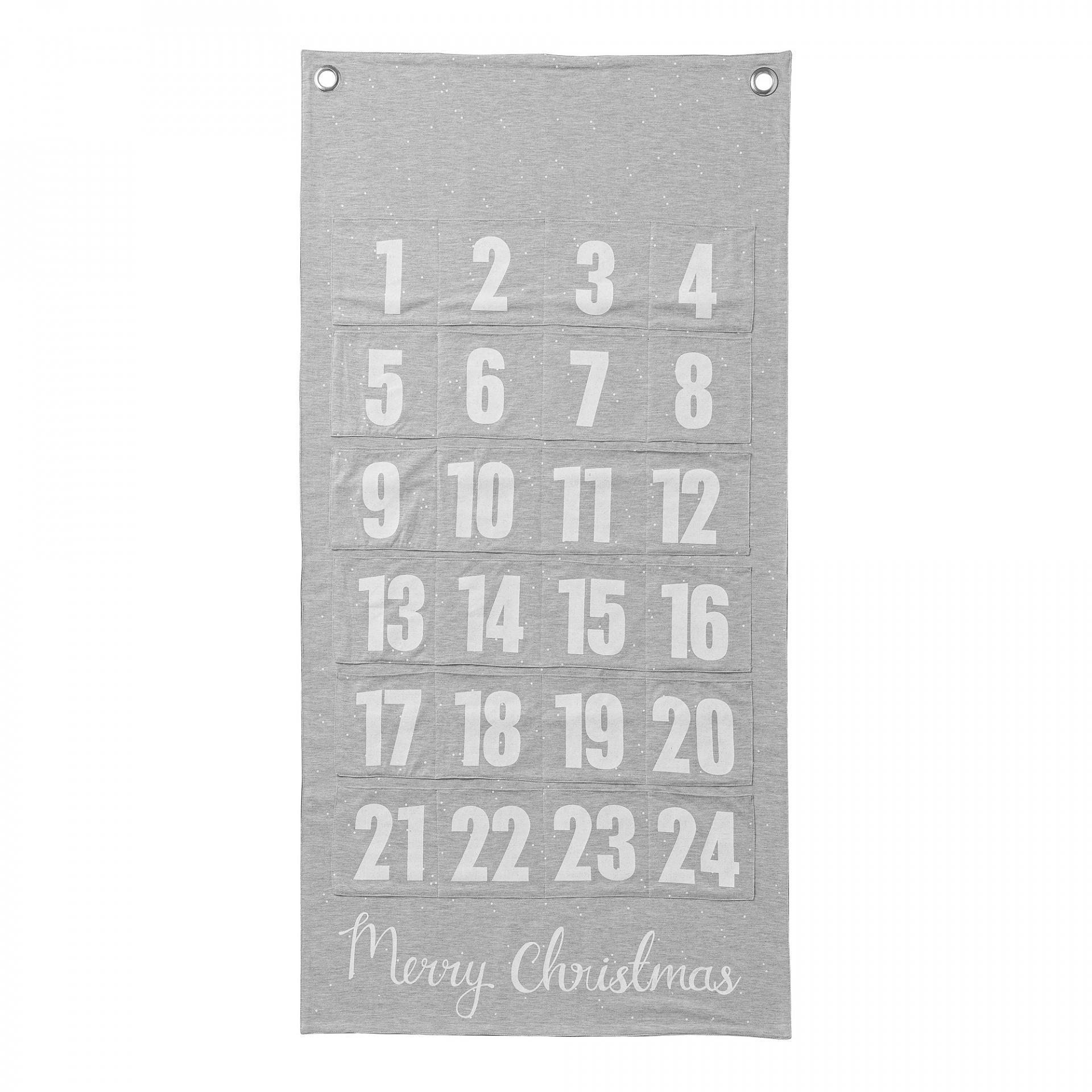 Bloomingville Textilní adventní kalendář, šedá barva, bílá barva, kov, textil