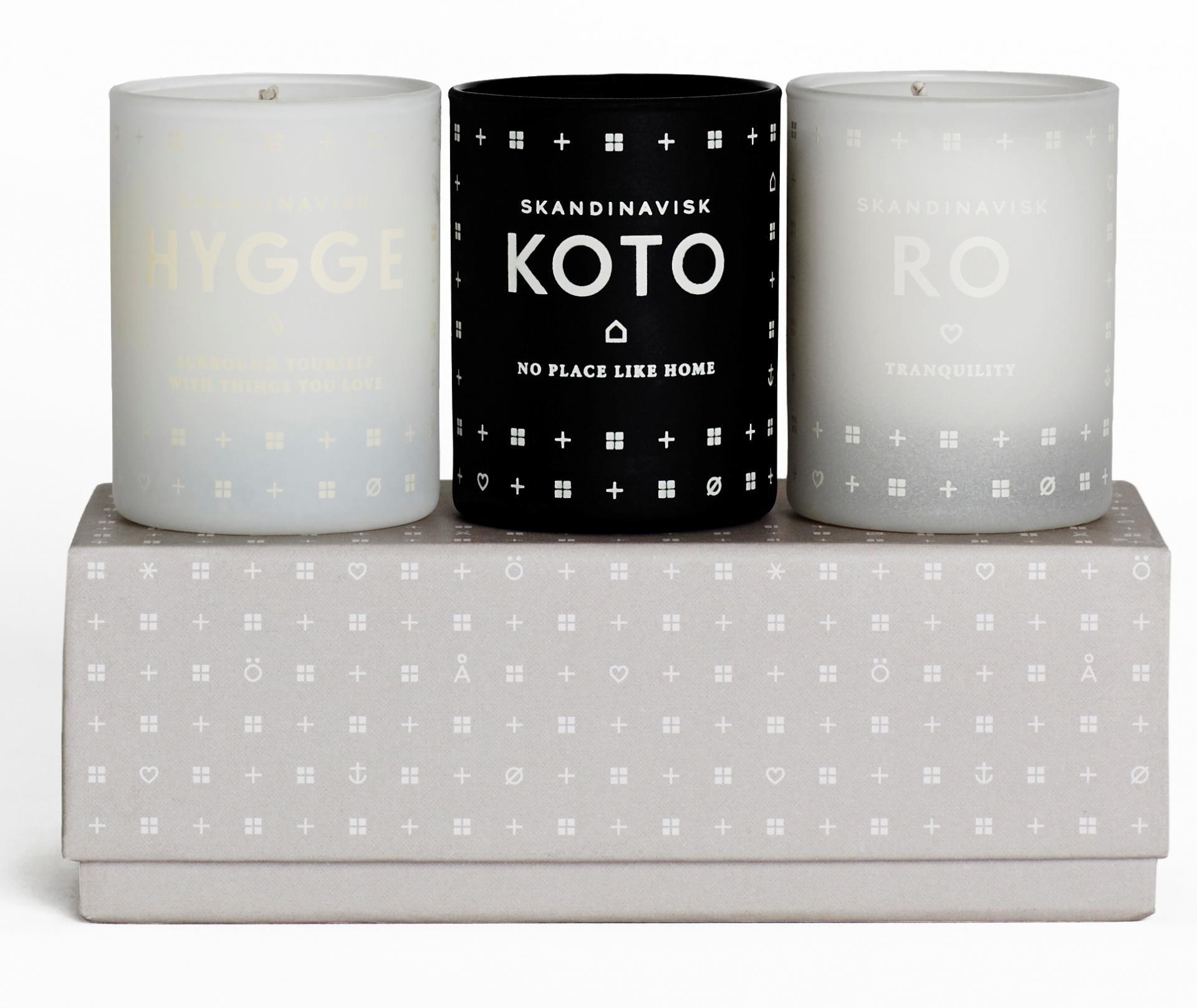 SKANDINAVISK Set mini svíček Home 3x55 g, multi barva, sklo