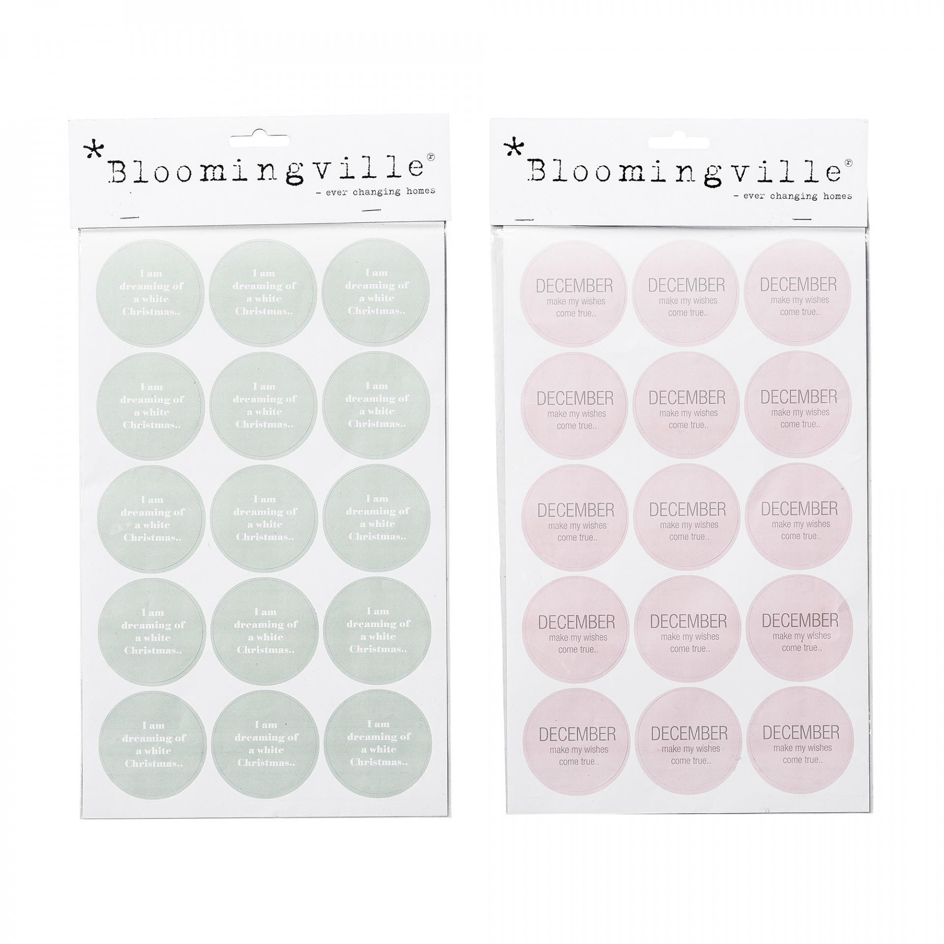 Bloomingville Vánoční nálepky Mint/Nude Nude, růžová barva, zelená barva, šedá barva, papír