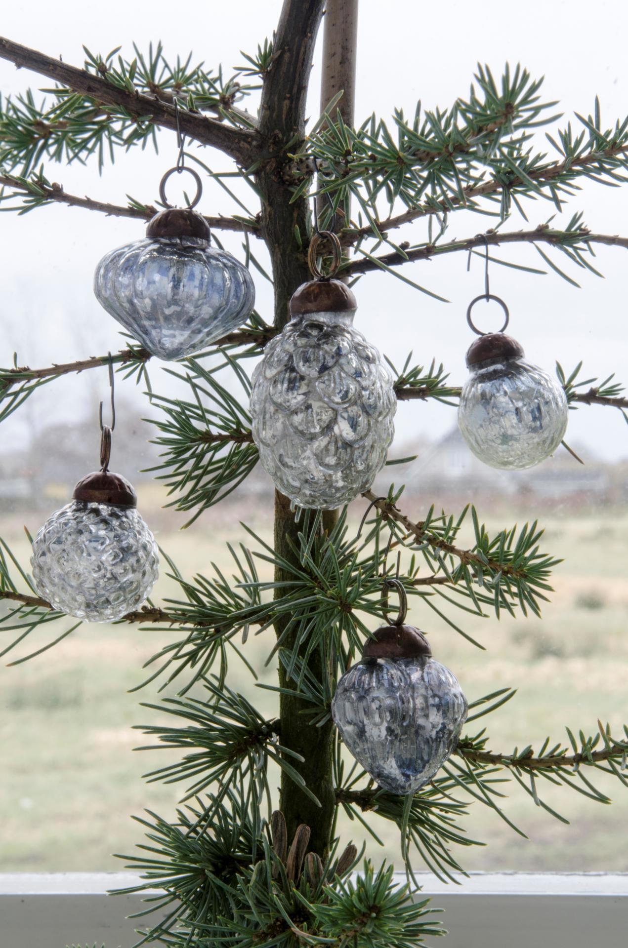 IB LAURSEN Vánoční mini ozdoby Silver - 10ks, stříbrná barva, sklo