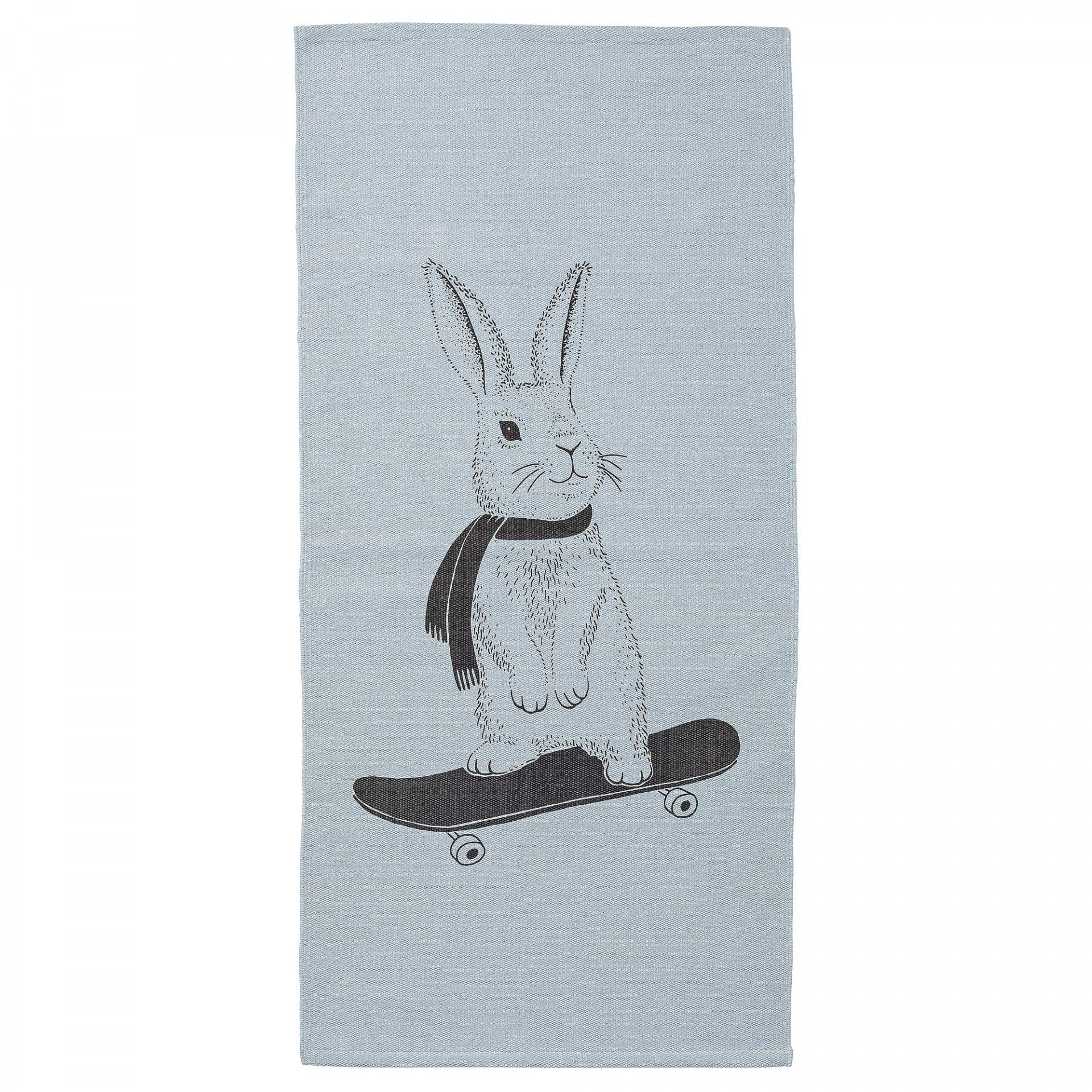 Bloomingville Koberec do dětského pokoje Rabbit Sky Blue, modrá barva, černá barva, textil Černá
