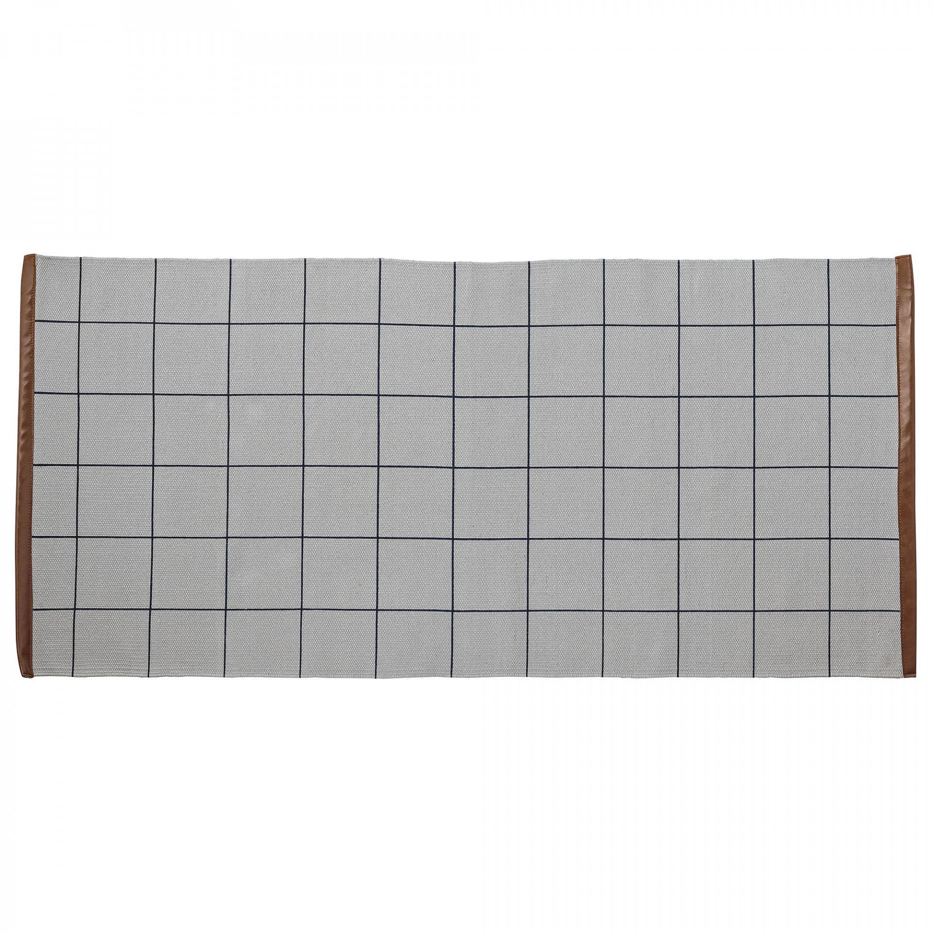 Bloomingville Bavlněný kobereček Cool Grey Checks, modrá barva, béžová barva, šedá barva, textil Šedá