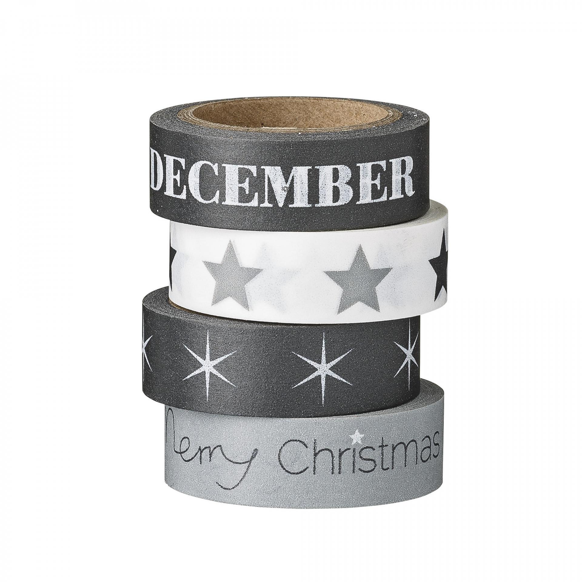 Bloomingville Vánoční papírová páska Black, Grey & White December, černá barva, bílá barva, papír