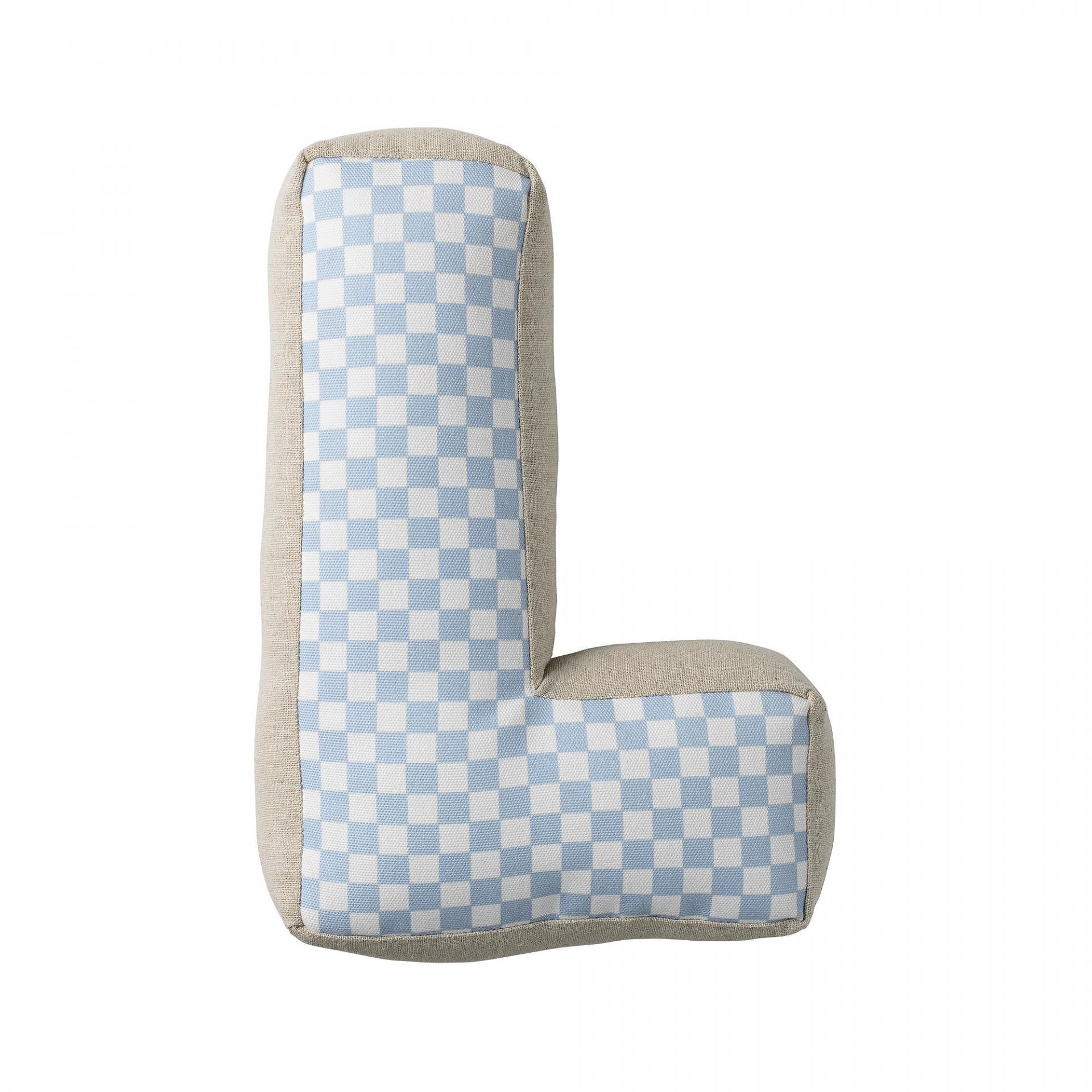 Bloomingville Dětský polštářek Checked ve tvaru písmene L, modrá barva, béžová barva, textil