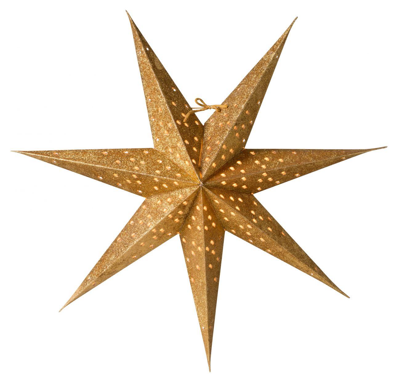 watt & VEKE Závěsná svítící hvězda Donna Gold 60 cm, zlatá barva, plast, papír