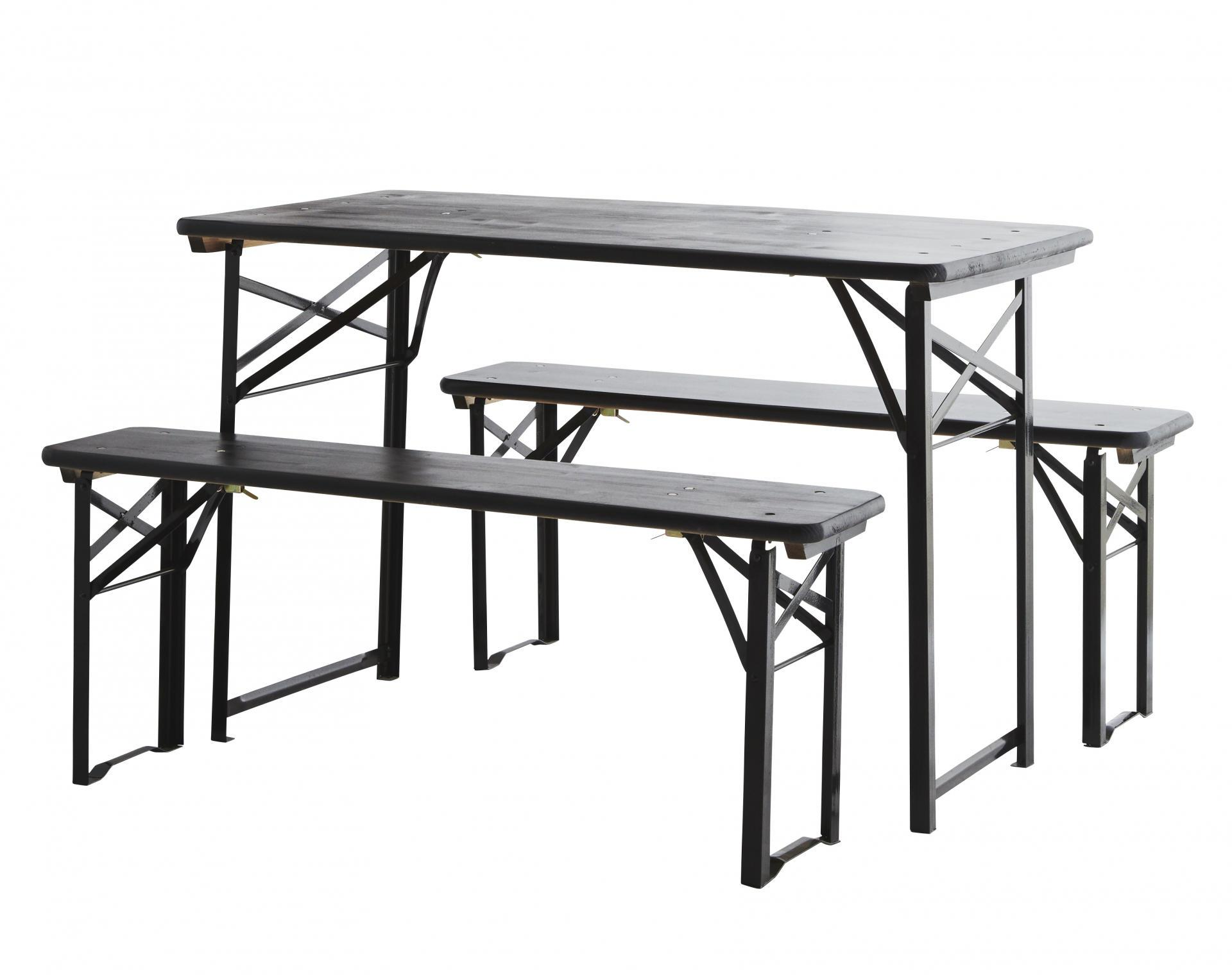 MADAM STOLTZ Lavičky se stolem Black, černá barva, kov