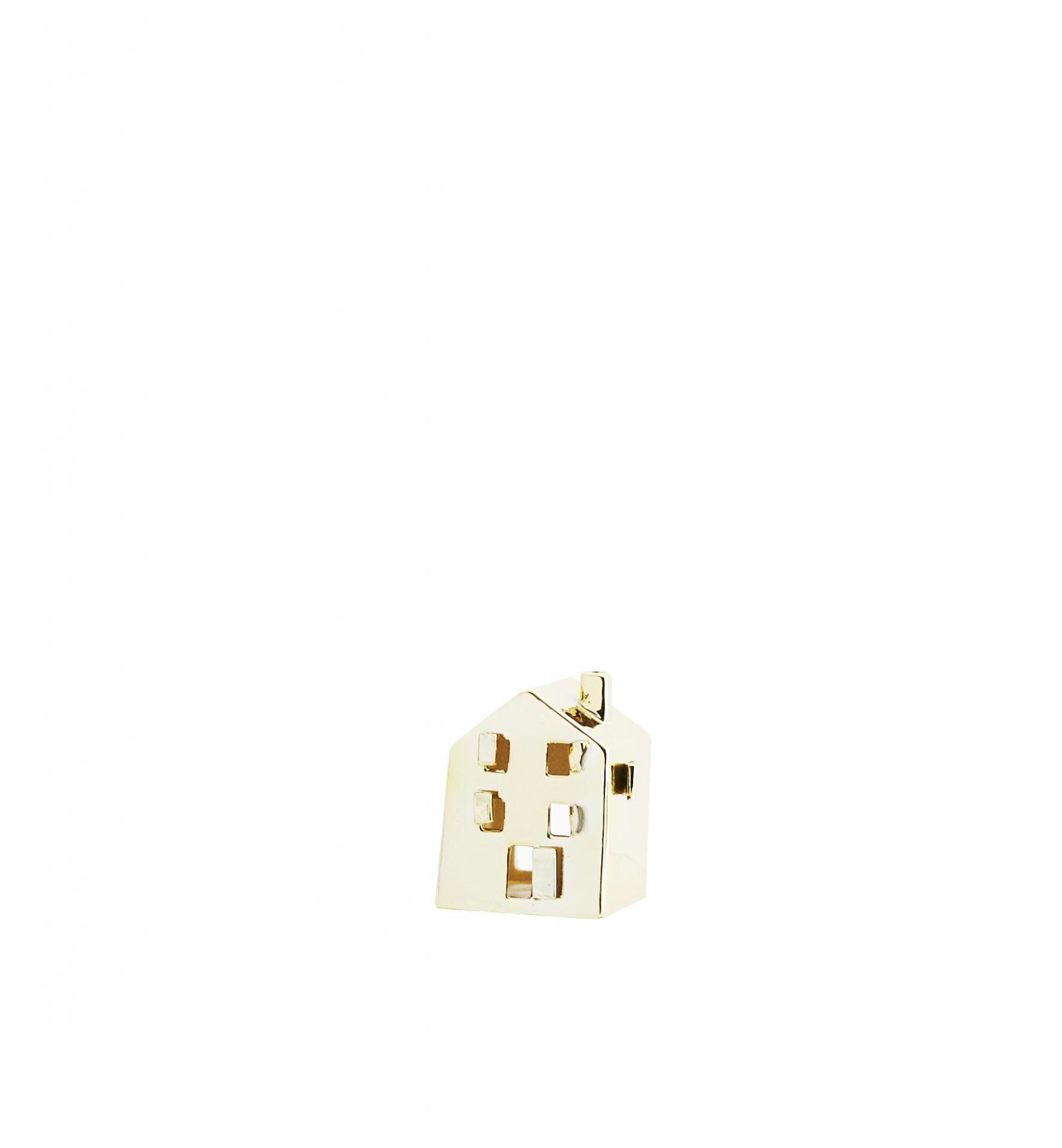 MADAM STOLTZ Porcelánový svícen Gold House, zlatá barva, porcelán