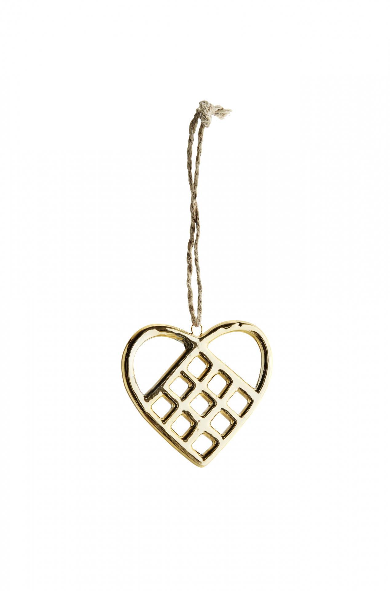 MADAM STOLTZ Závěsné porcelánové srdce Gold Heart, zlatá barva, porcelán