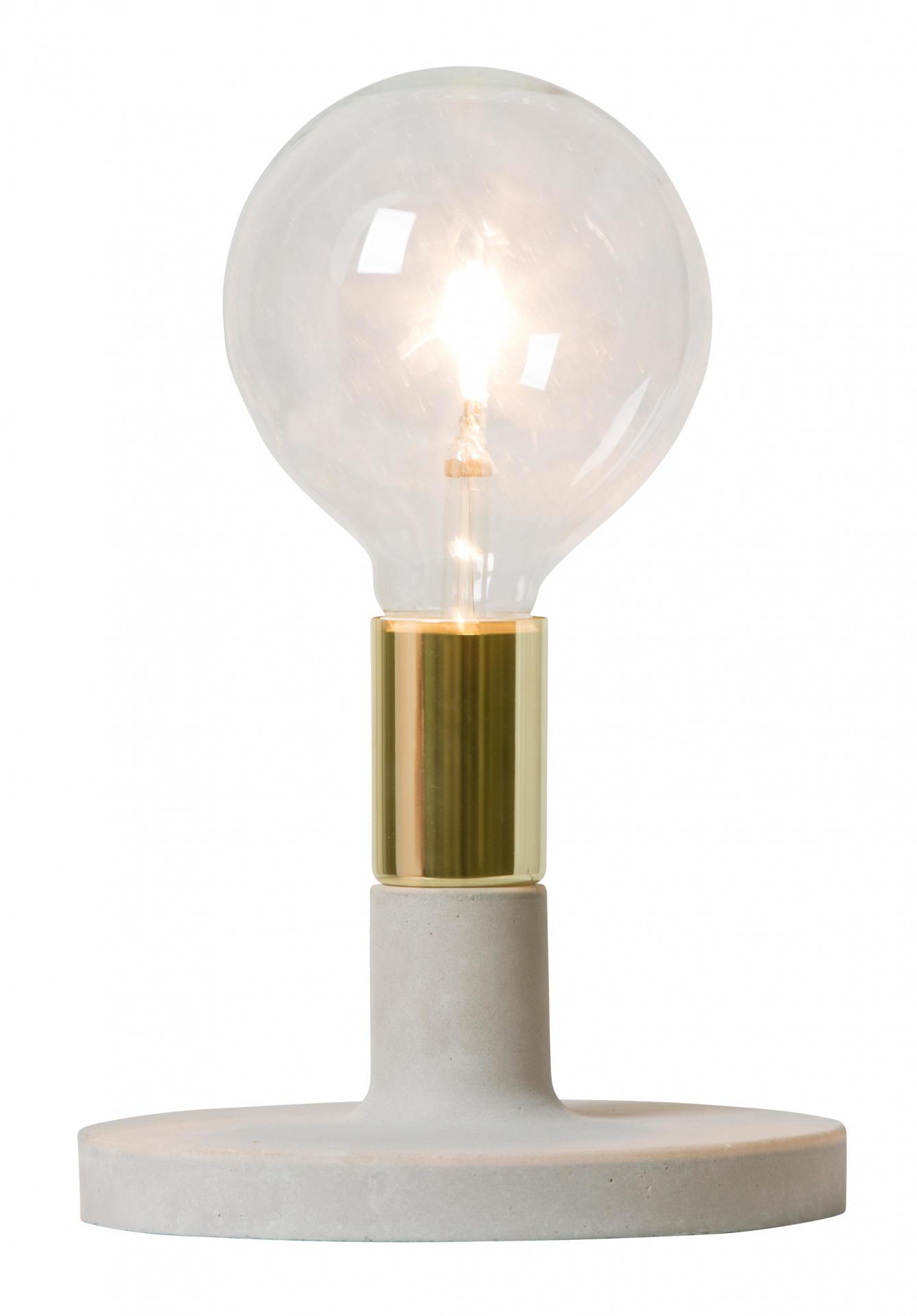 watt & VEKE Lampa s betonovým podstavcem Linda Gold, šedá barva, zlatá barva, kov, plast, beton