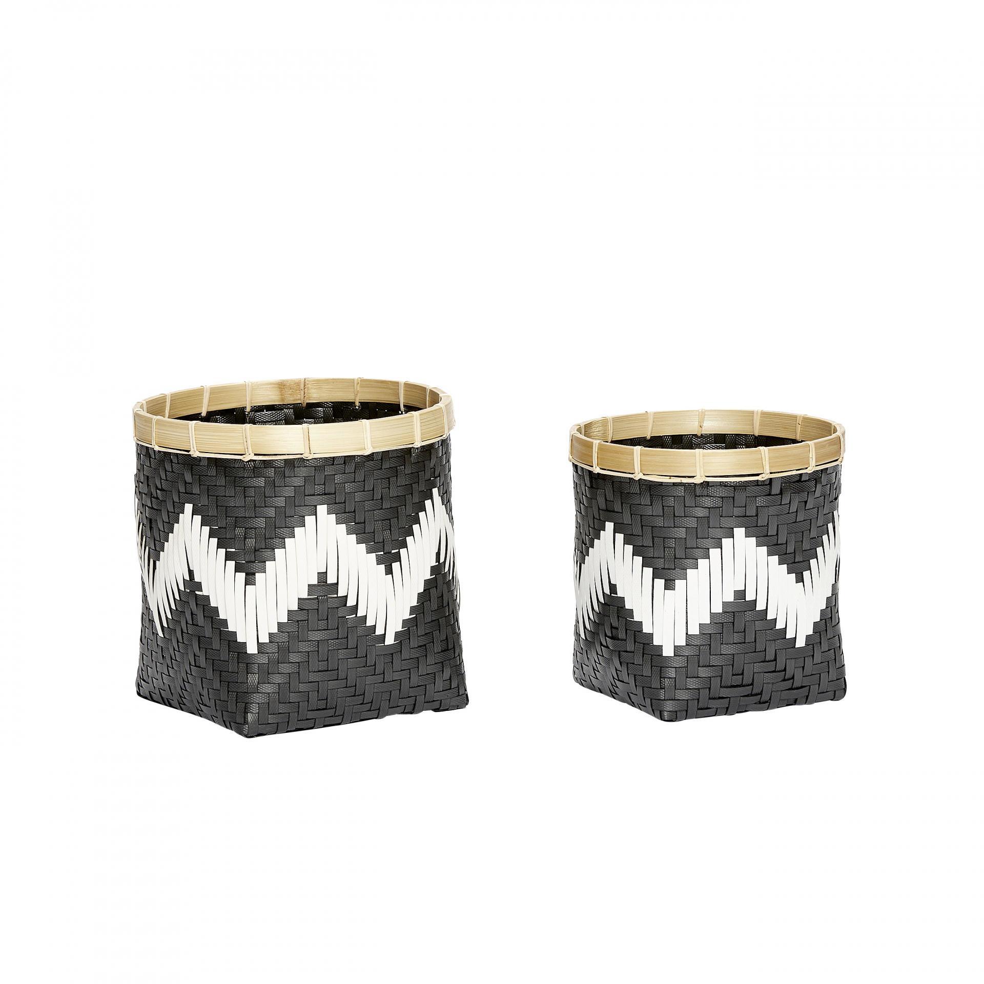 Hübsch Polyratanový košík Cik Cak Black Malý, černá barva, plast, proutí