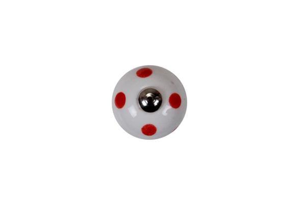 La finesse Porcelánová úchytka Red dots mini, červená barva, porcelán