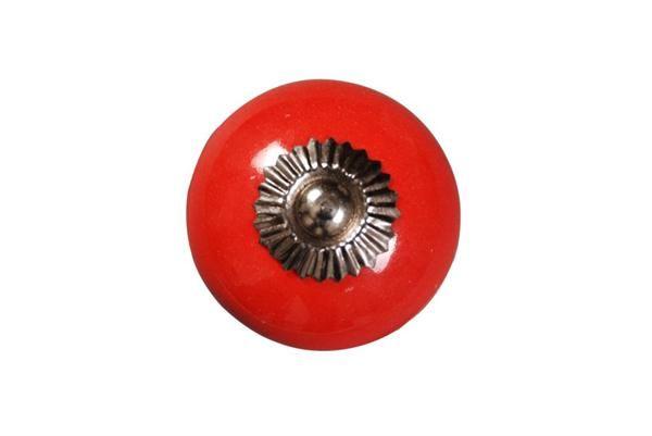 La finesse Porcelánová úchytka Red 4 cm, červená barva, porcelán