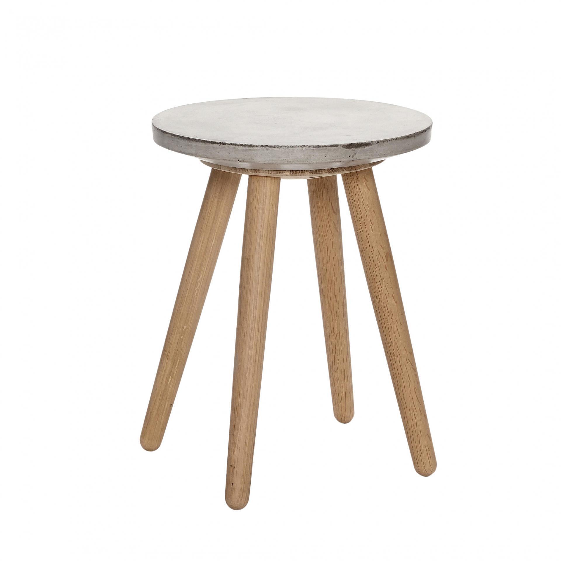Hübsch Stolička s betonovým sedákem Oak/Concrete, béžová barva, šedá barva, dřevo, beton