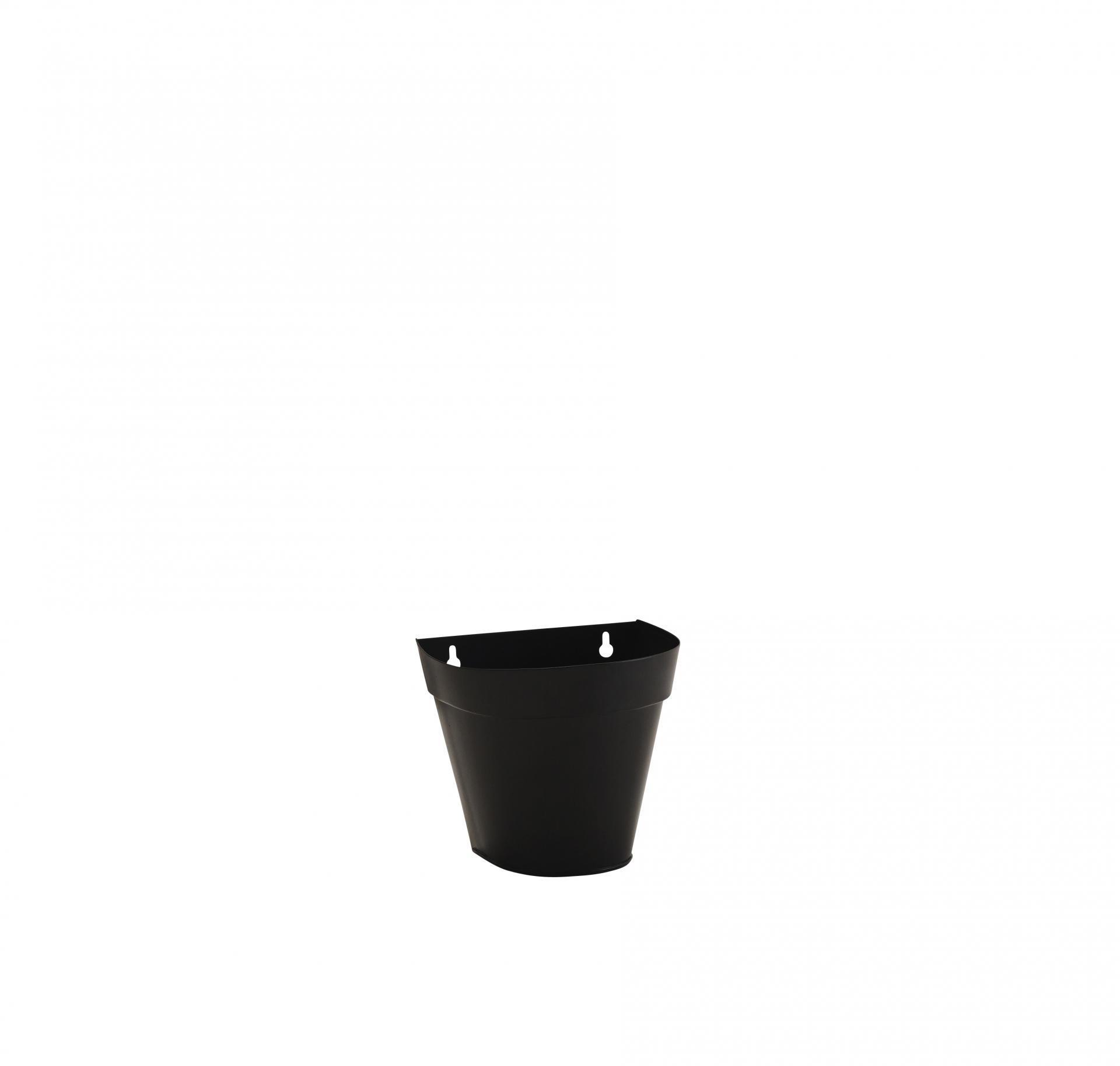 MADAM STOLTZ Nástěnný květináč Wall Black, černá barva, kov