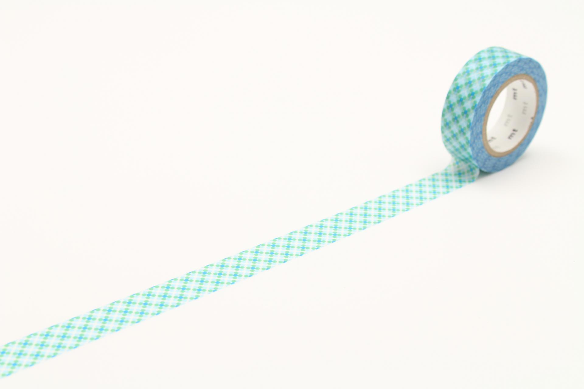 mt Designová samolepicí páska Oboro dot water, modrá barva, papír