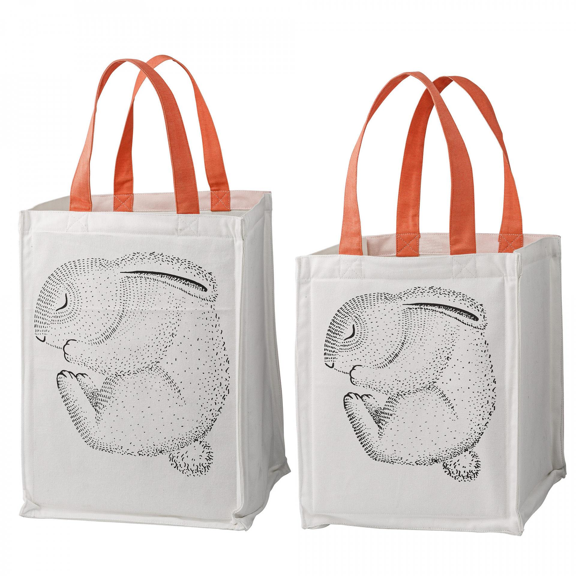 Bloomingville Úložný textilní box pro děti Rabbit Menší, oranžová barva, bílá barva, textil