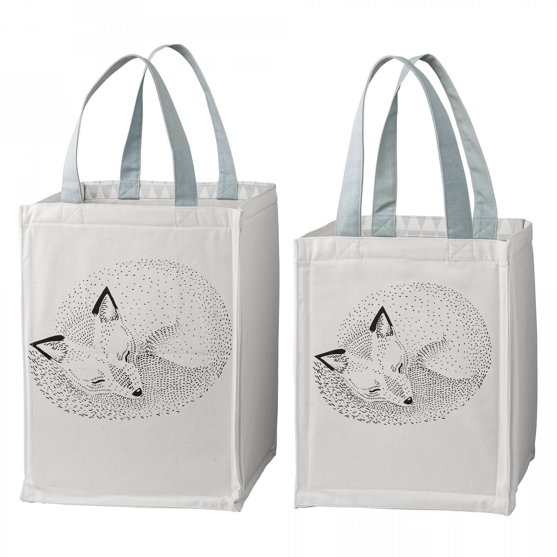 Bloomingville Úložný textilní box pro děti Fox Větší, modrá barva, bílá barva, textil