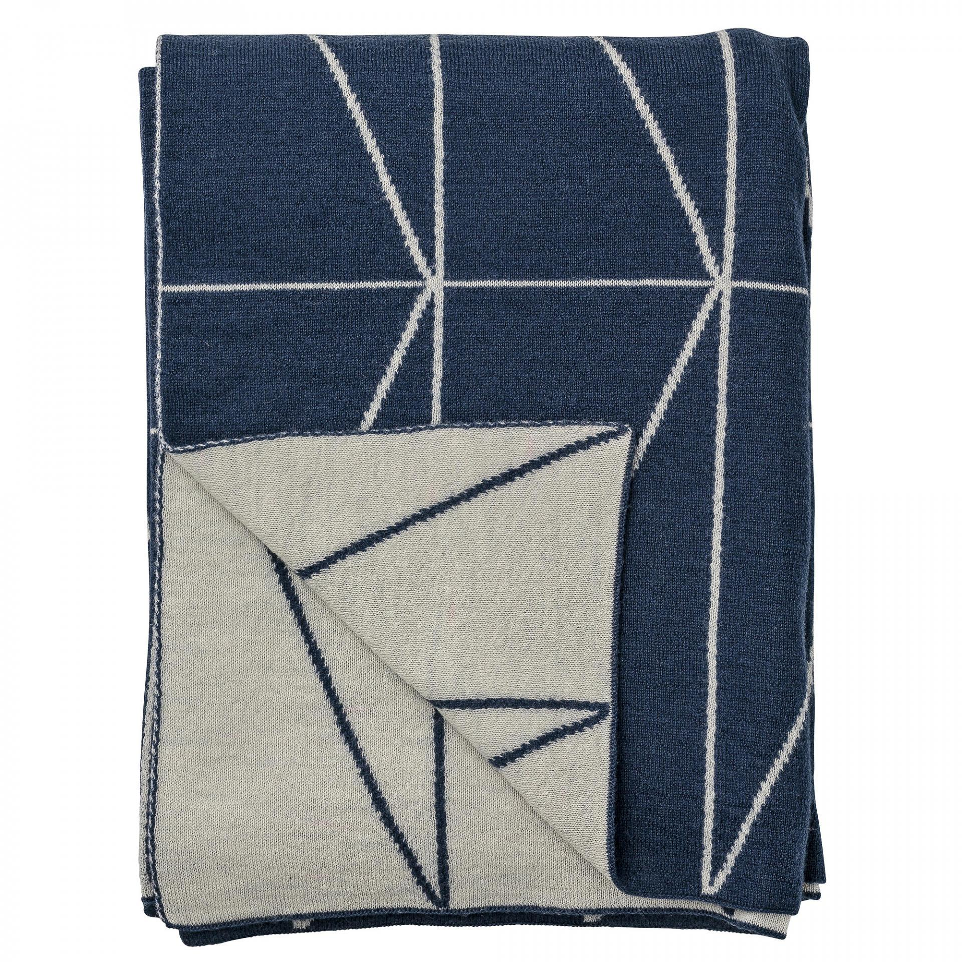 Bloomingville Pletený přehoz Indigo Blue Zig-Zag 130x170 cm, modrá barva, šedá barva, textil