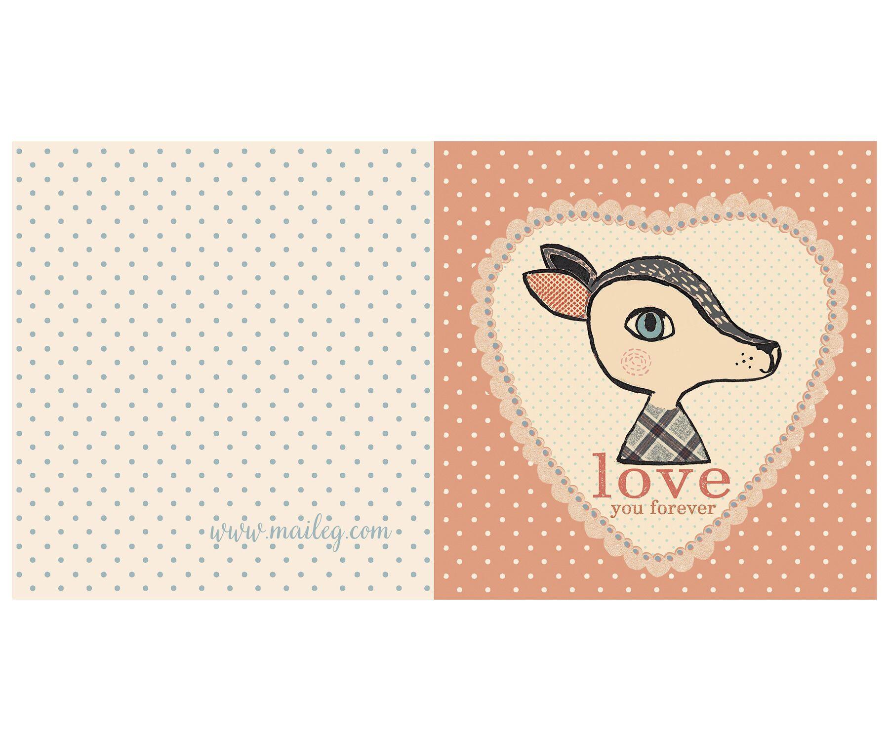 Maileg Dárkové přání s obálkou Bambi rose, růžová barva, papír