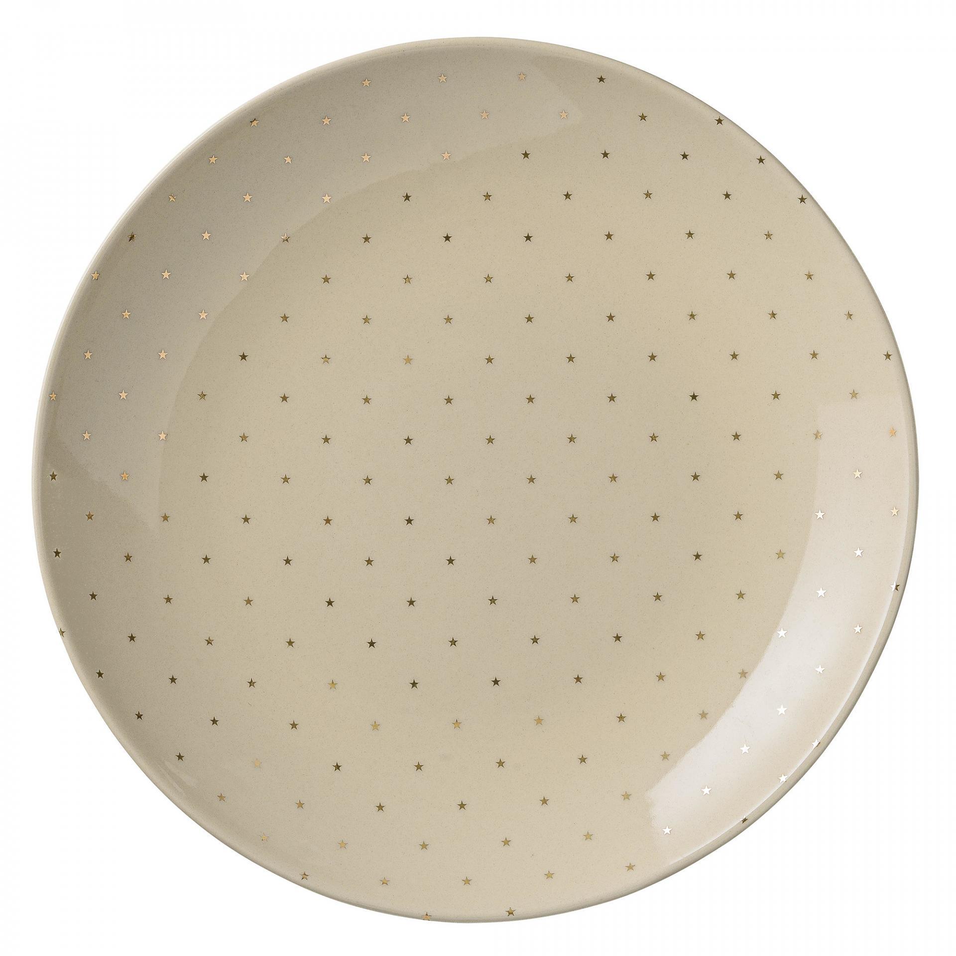 Bloomingville Keramický talíř Fanny Gold 25 cm, zlatá barva, krémová barva, keramika