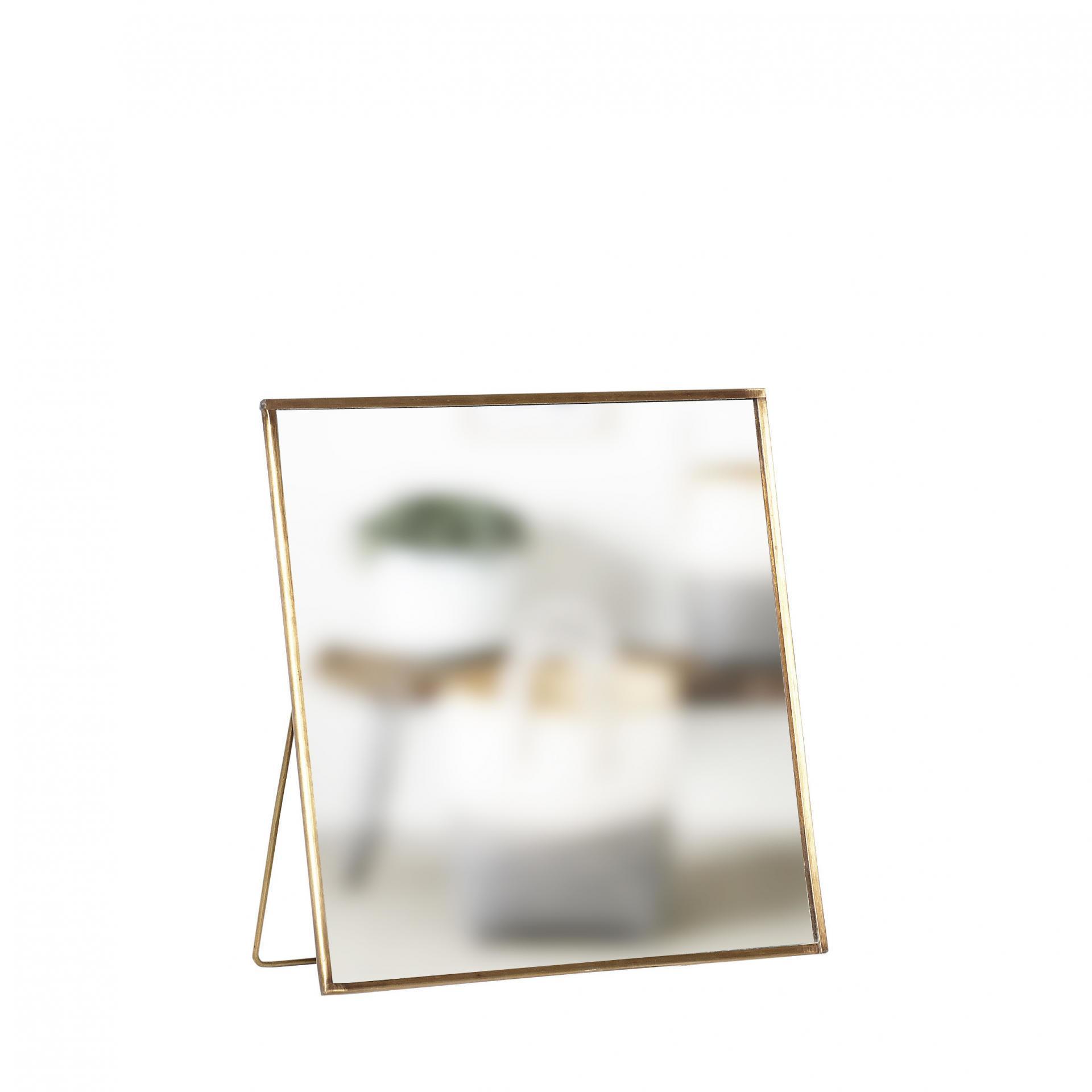 Hübsch Stolní zrcadlo Brass/glass, zlatá barva, čirá barva, sklo, kov