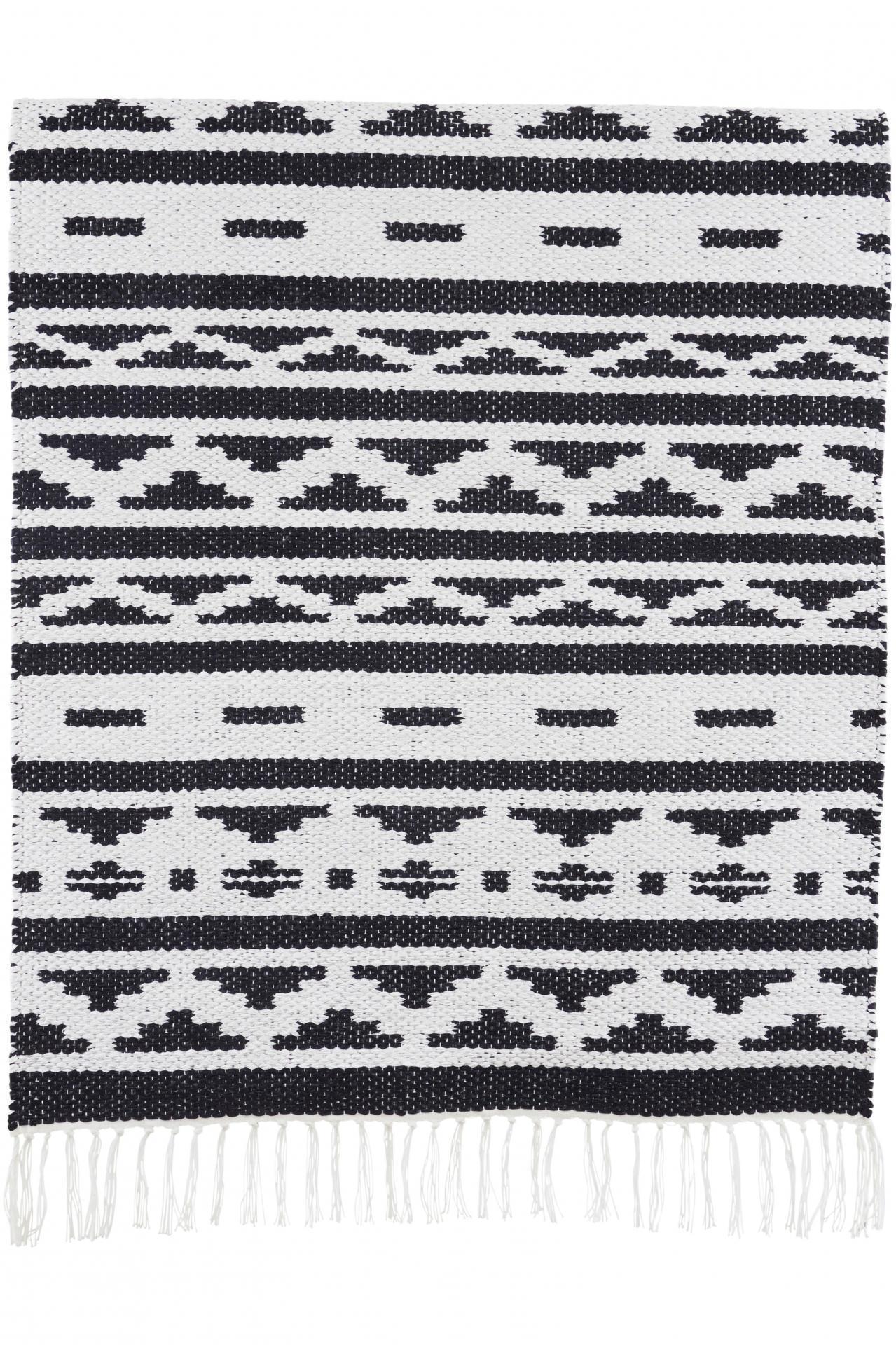 House Doctor Kobereček New Inka 60 x 90 cm, černá barva, bílá barva, plast